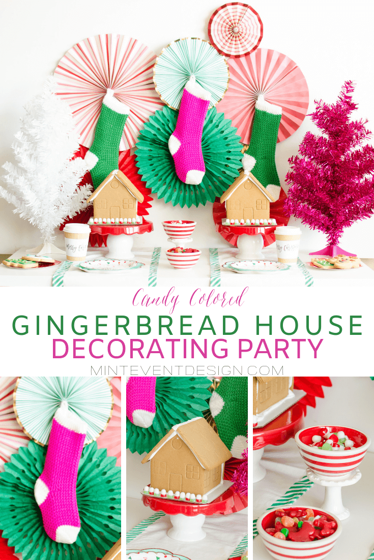 See how to plan this candy colored Gingerbread House Decorating Party for your kids and their friends with simple holiday decorations. If in the Austin, Texas area, ask Mint Event Design to create this party for you this holiday season. Find out how to make your own gingerbread house party here www.minteventdesign.com #gingerbreadhouse #holidayparty #holidays #partyideas #christmasparty #holidaypartyideas #kidsparty