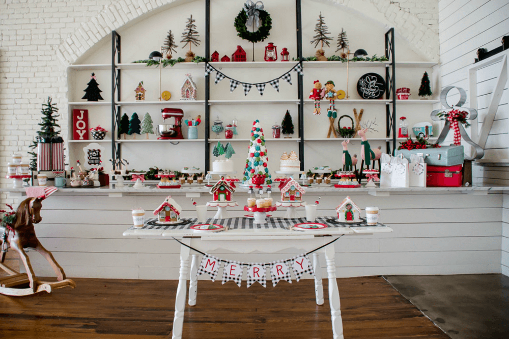 How to Host a Christmas Party for Ladies. It's time for the moms to gather and celebrate the holiday season with hot cocoa and treats, talk about the Christmases of our childhoods, and decorate gingerbread houses and cookies. This gorgeous Holiday party inspiration is from Austin based party stylist Mint Event Design. www.minteventdesign.com #gingerbreadhouse #holidayparty #holidays #partyideas #christmasparty #holidaypartyideas