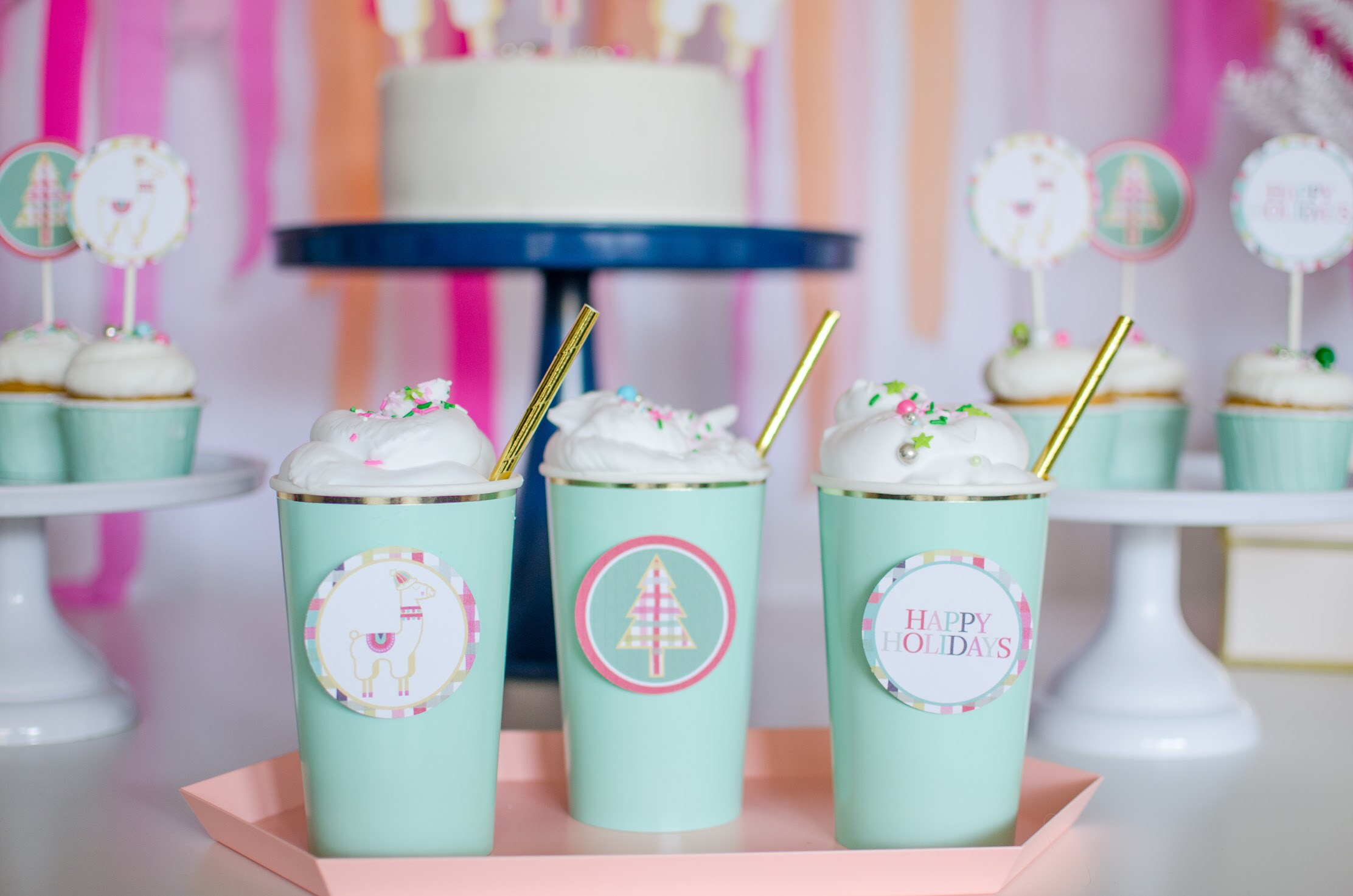 Download these free llama party printables that can be used for cupcake toppers and even drink embellishments at www.minteventdesign.com #holidayparty #holidays #partyideas #christmasparty #holidaypartyideas #llamaparty #llamalove #partyprintables
