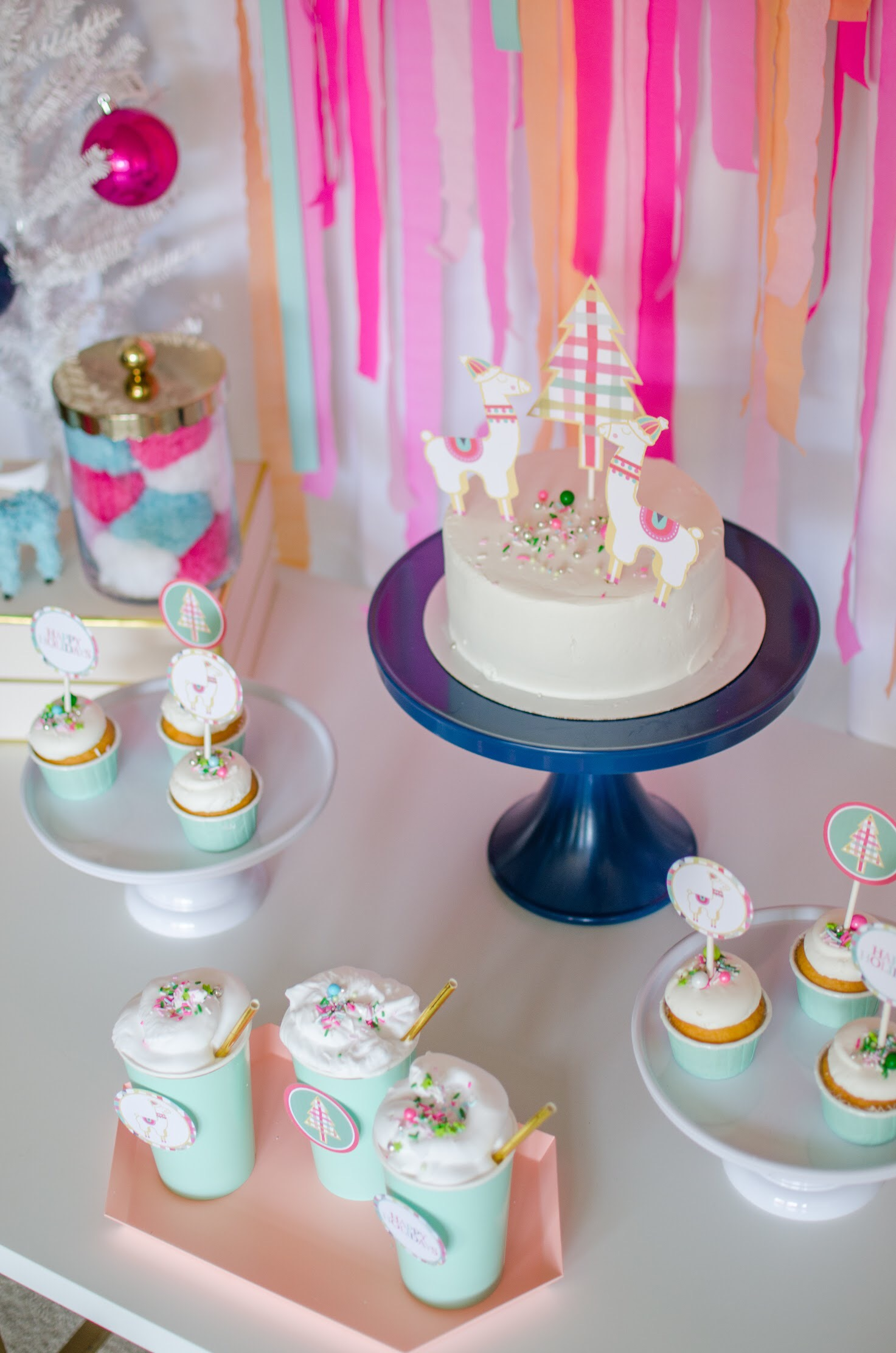 Christmas llama party dessert table in pink and mint green. See more from this llama Christmas party by Mint Event Design at www.minteventdesign.com and download your free printables #holidayparty #partyideas #christmasparty #holidaypartyideas #llamaparty #llamalove #partyprintables #freeprintables
