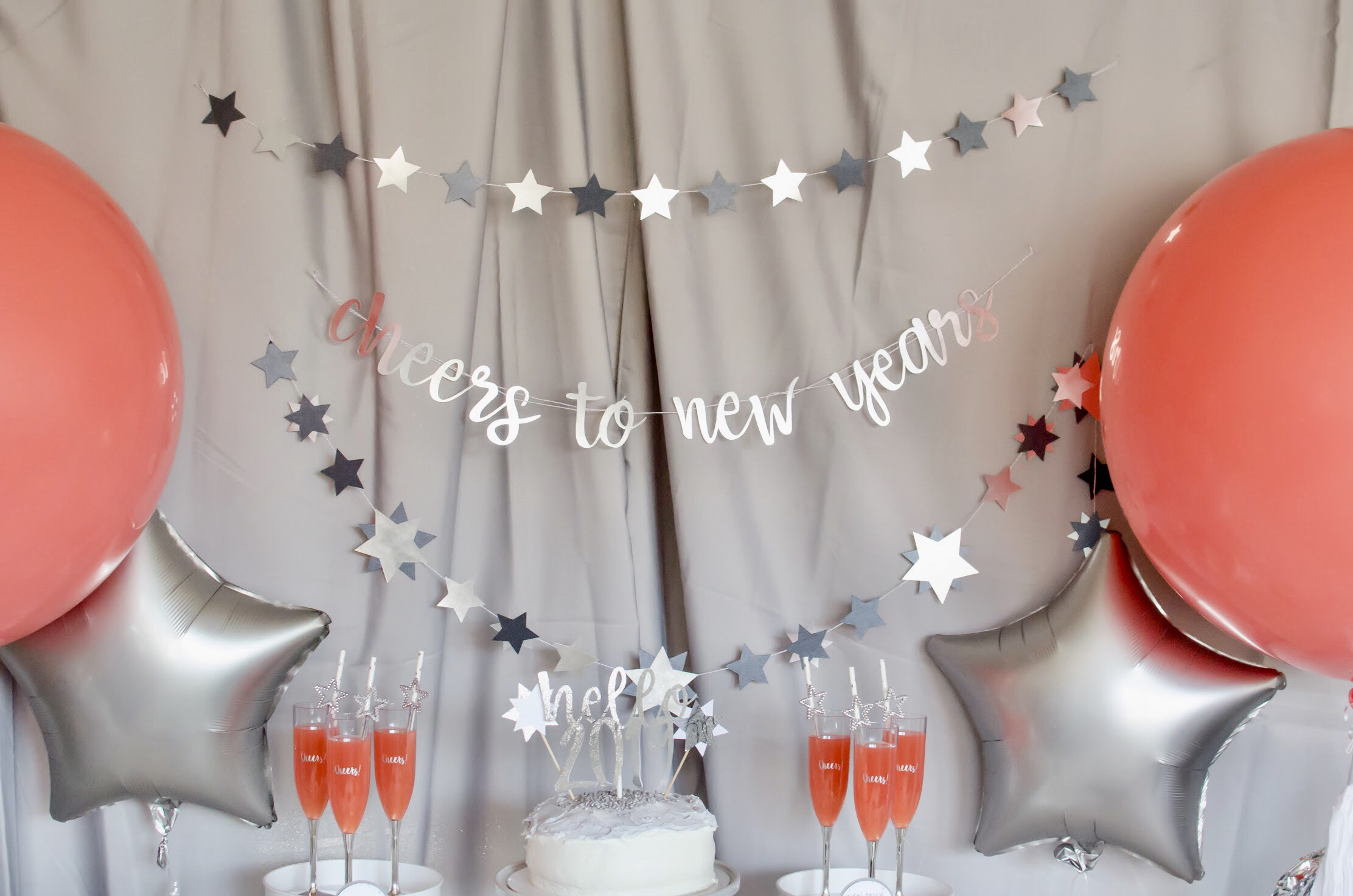 "New Year's Eve Banner ""Cheers to New Years"" is perfect for this colorful party! Love the balloons too!"