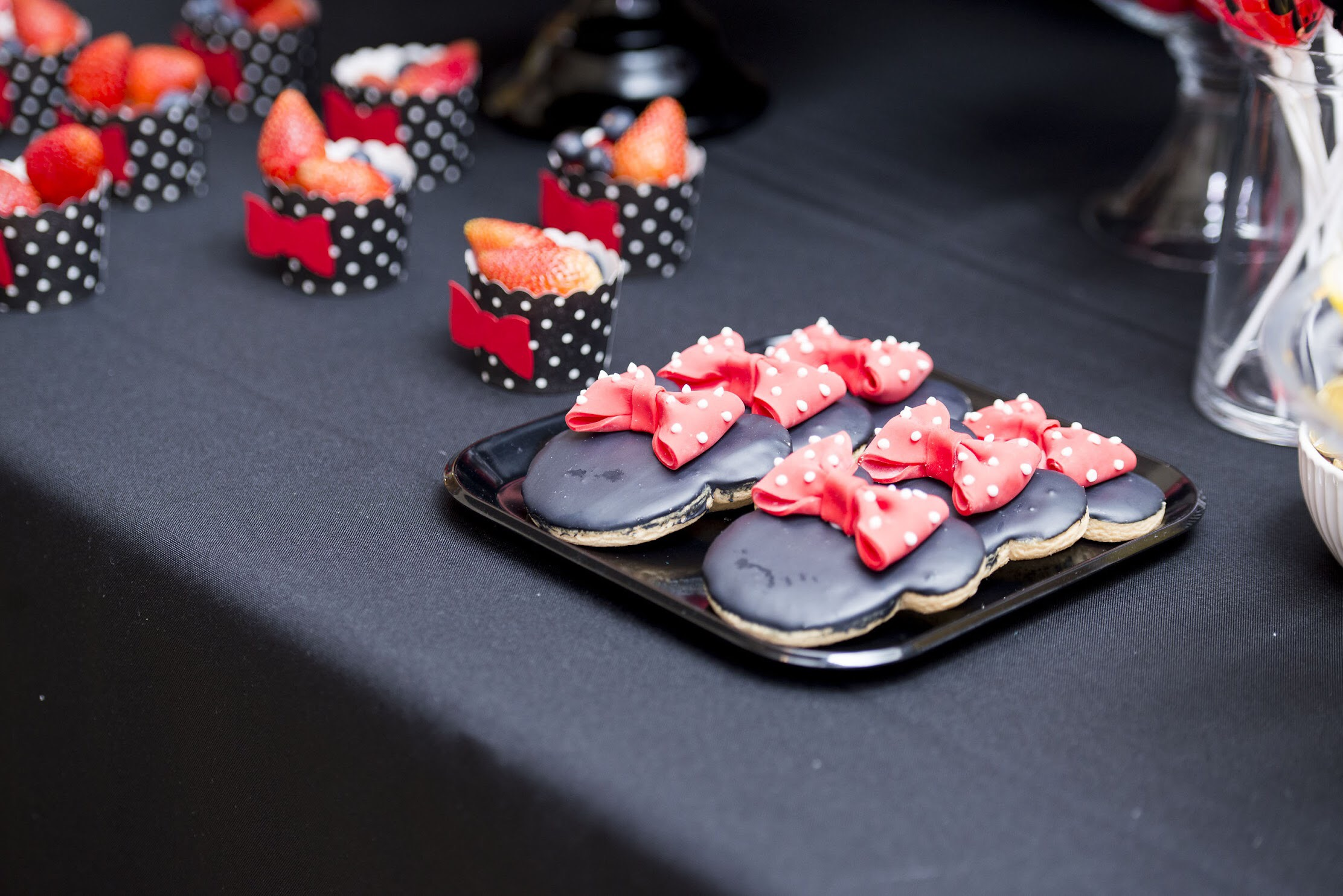 Minnie Mouse Cookies at a Disney Birthday party
