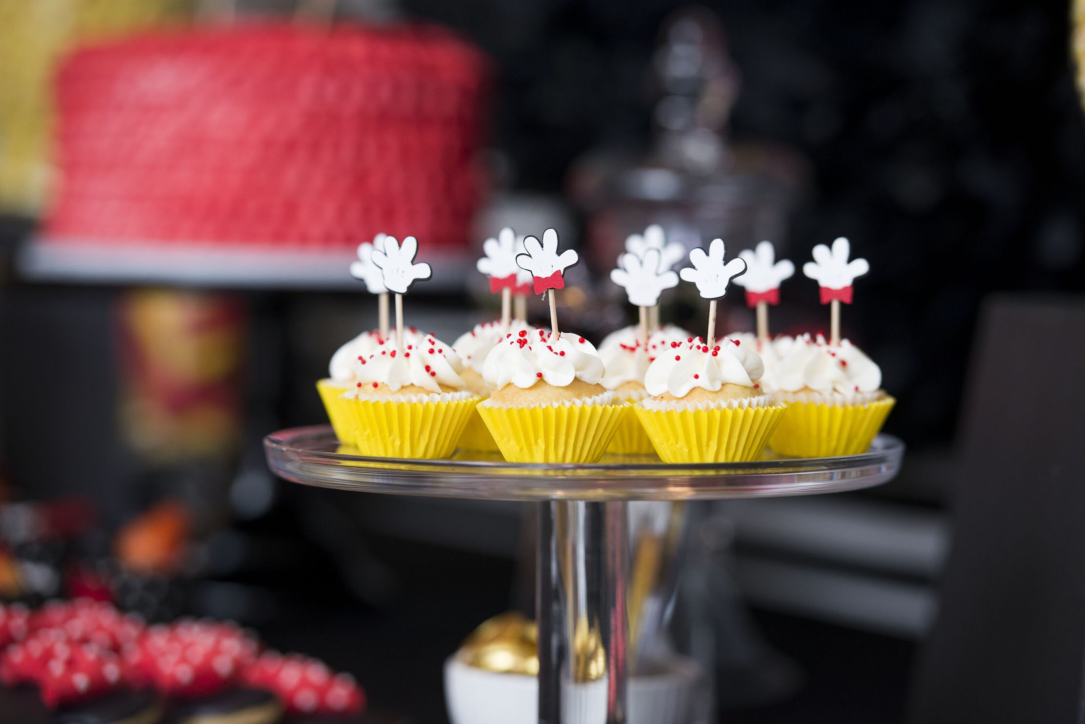 Sweet Mickey Mouse Cupcakes at Mickey and Minnie Birthday Party