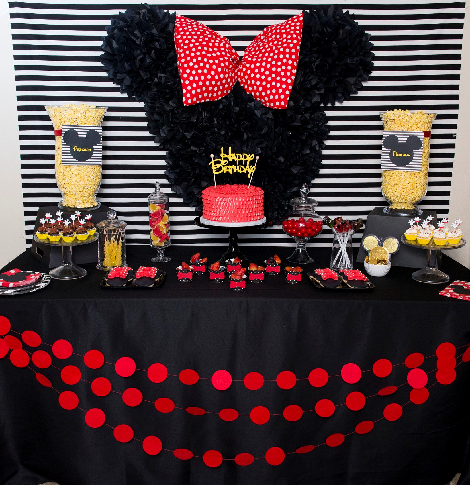 Mickey and Minnie Mouse themed Birthday Dessert table from Mint Event Design, Austin Texas based Party stylist