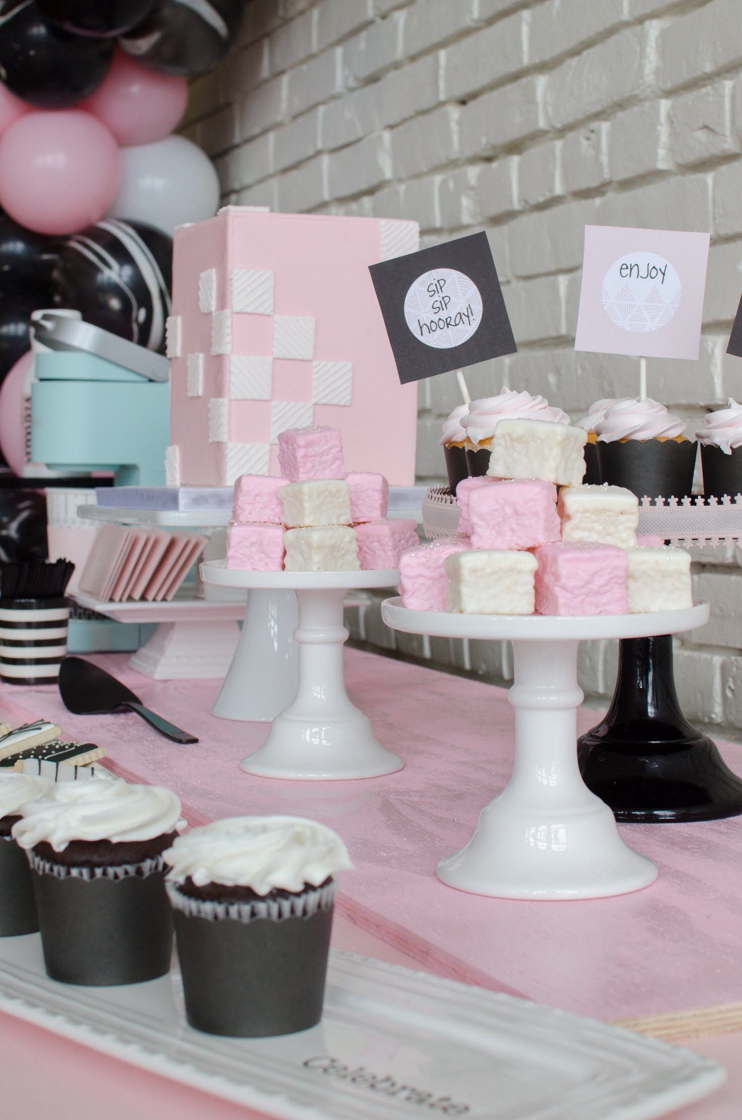Cupcakes and petit fours and cakes! Adorbly pink and perfect for any celebration!