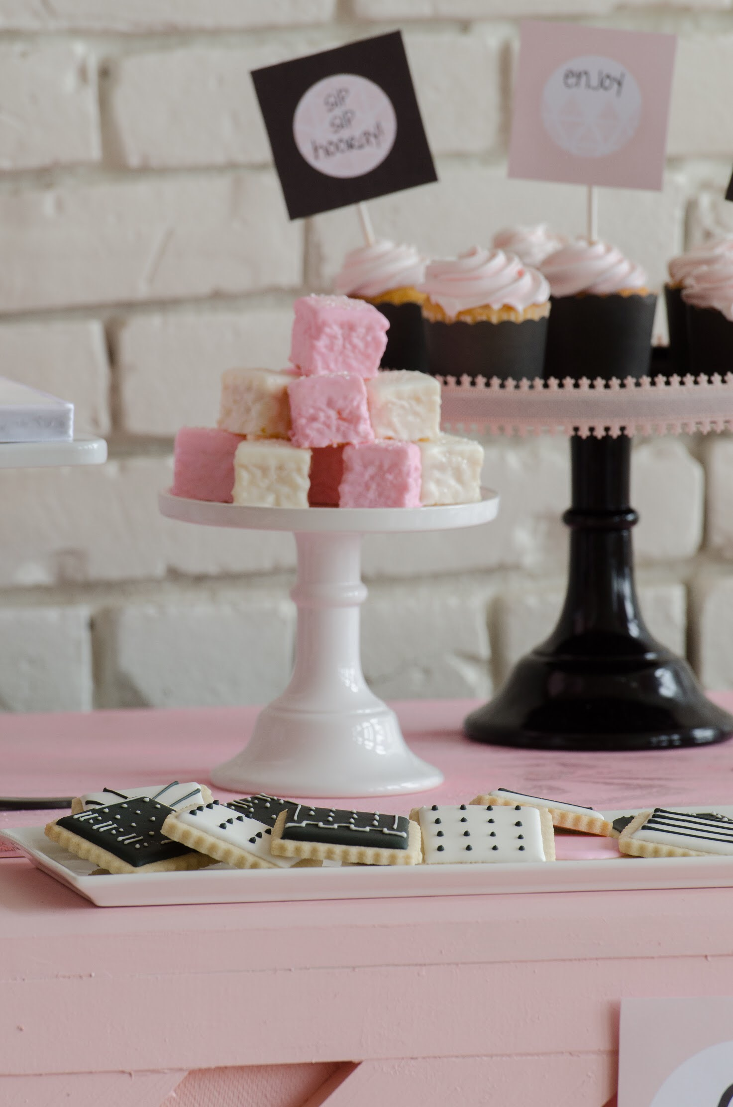 Super cute desserts from a pink black and white party!