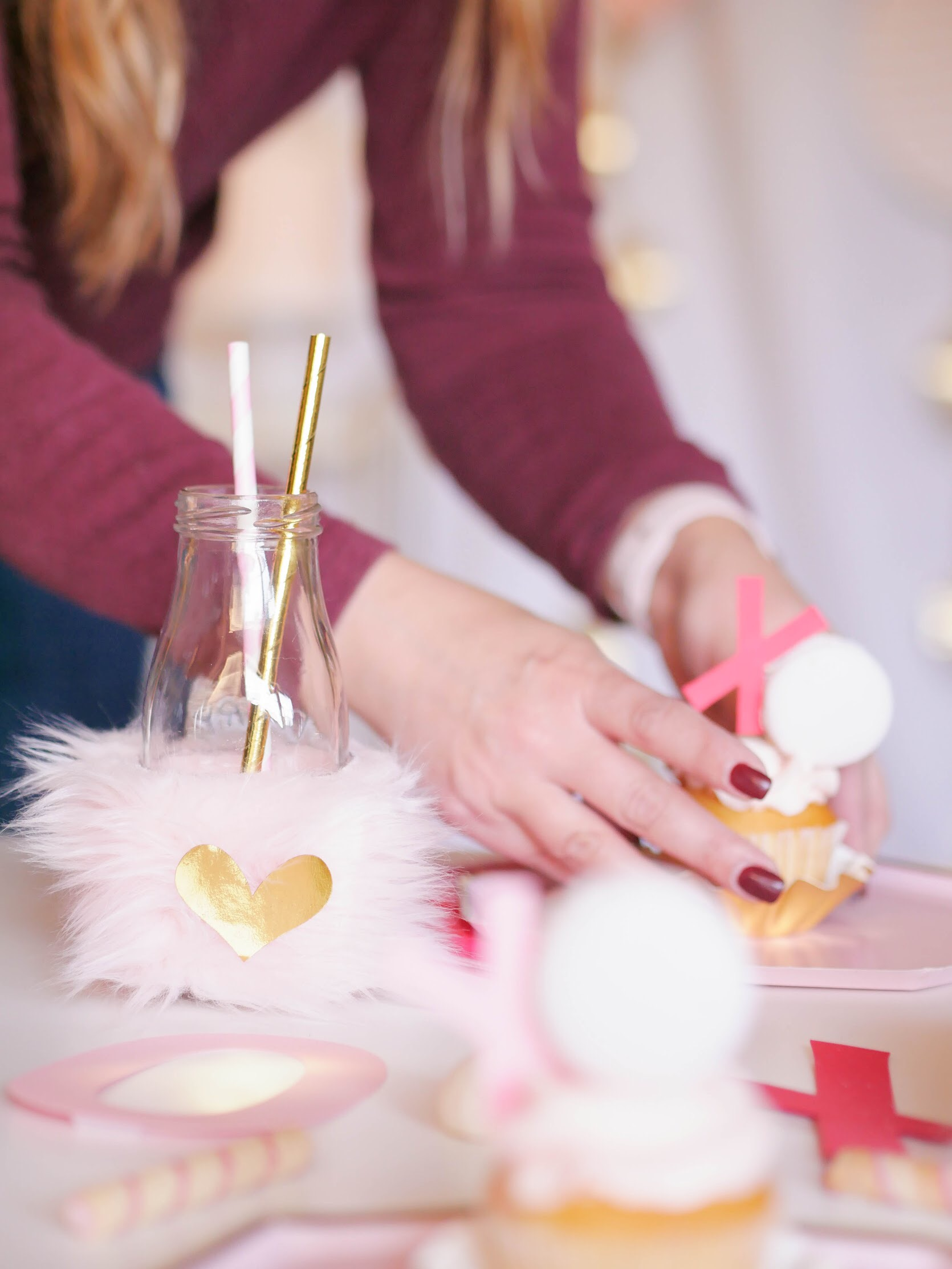 Find out how to style the cutest Valentine's Day Dessert Table on a Bar Cart. Complete with cupcake toppers made with macarons to create a super sweet treat. See more from Mint Event Design atwww.minteventdesign.com#valentinesdaytreats #valentinesday #barcart #valentinesparty #partydecor #partyideas
