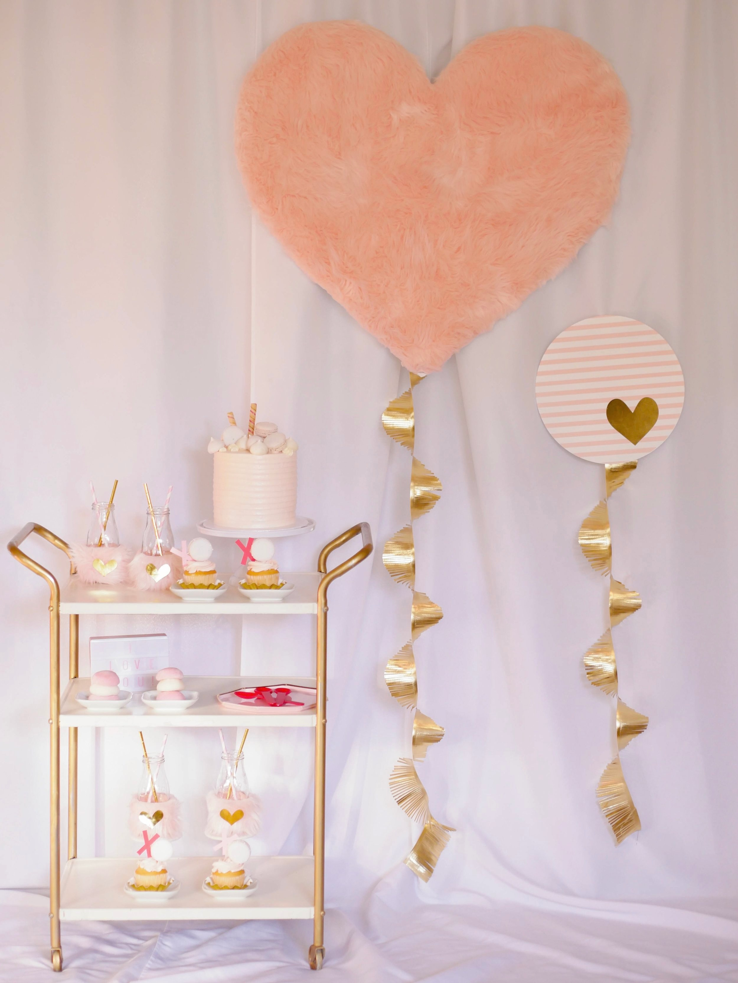Adorable Pink and Red Dessert Cart idea from Mint Event Design-Austin based party stylist