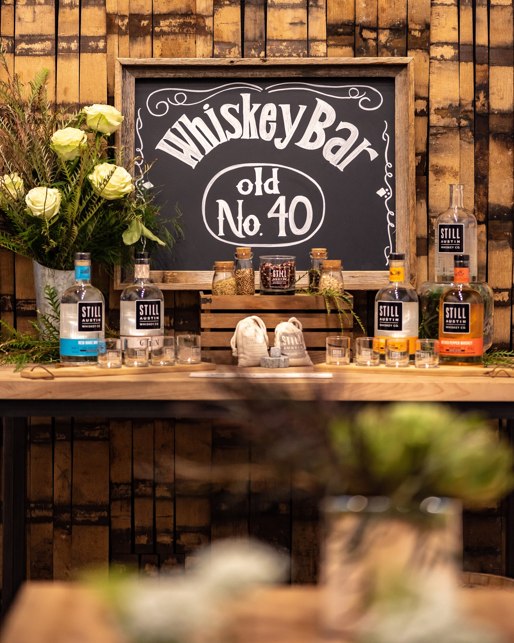 A Whiskey tasting bar— what a great idea for a men's birthday party!