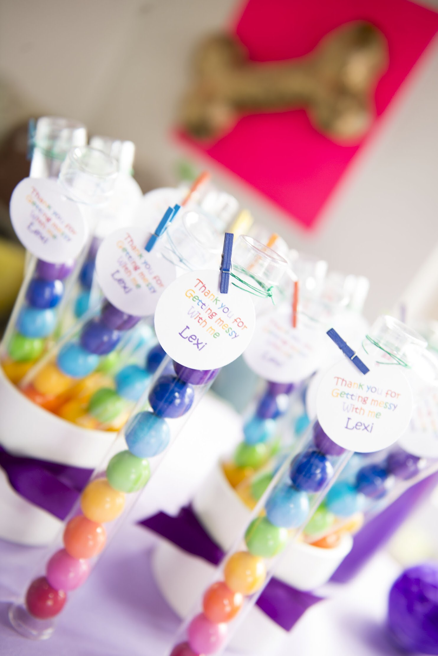 Rainbow colored gum balls are the perfect party favor for an art party! Click to see all the art themed party ideas on Mint Event Design www.minteventdesign.com #kidsparty #kidspartyideas #birthdaypartyideas #artparty #rainbowparty