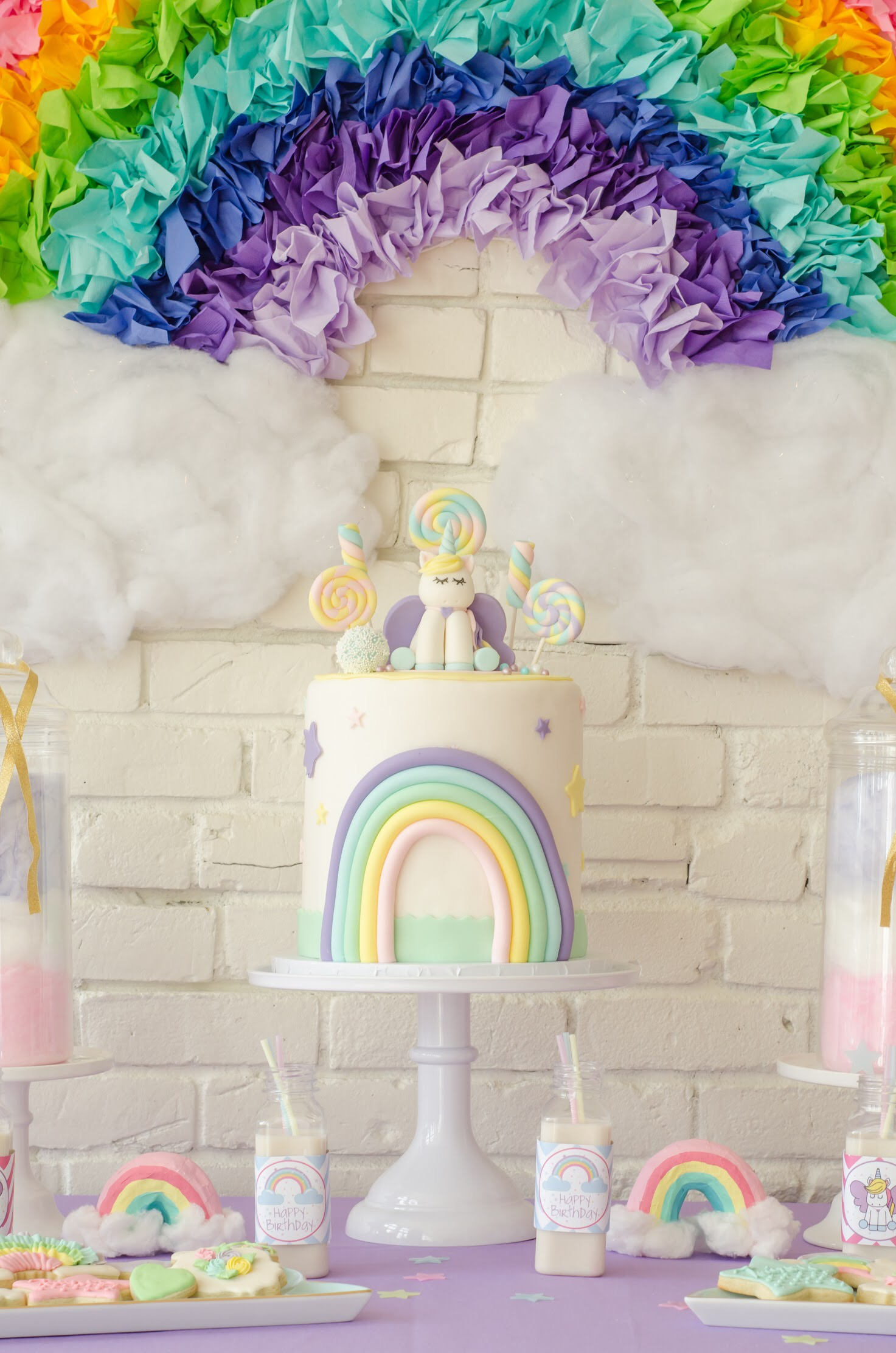 Super cute Unicorn birthday cake from Sweet Carousel Cakes. Come see all the Unicorn Birthday Party Ideas at Mint Event Design www.minteventdesign.com #unicornparty #birthdayparty #birthdaypartyideas #pastelrainbow #birthdaycake