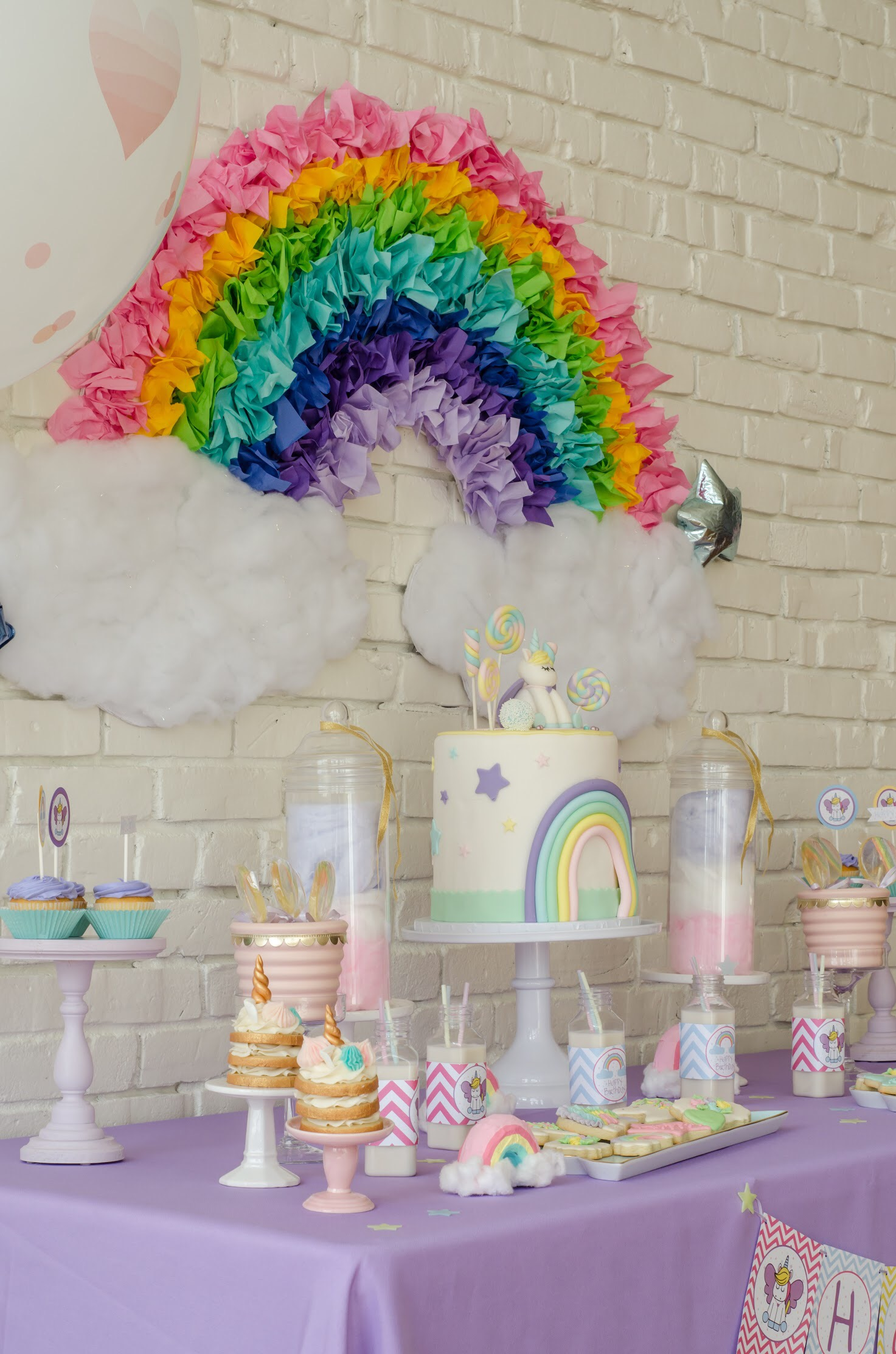 Unicorn themed birthday table created by Mint Event Design www.minteventdesign.com #unicornparty #unicorncake #birthdayparty #birthdaypartyideas #birthdaydesserts #birthdaycake #desserttable