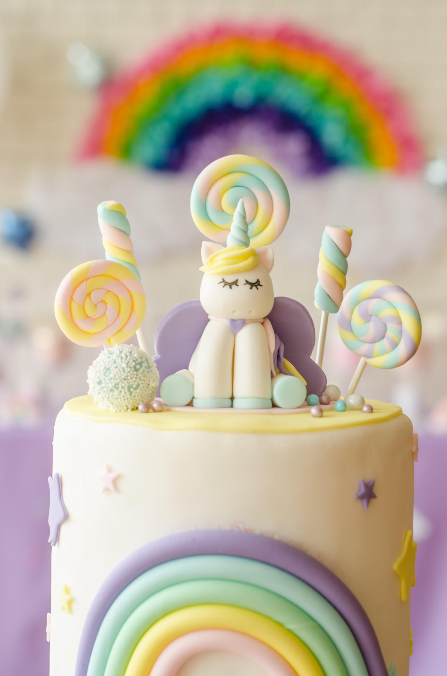 How sweet is this adorable unicorn themed cake? This whole party from Mint Event Design is the sweetest www.minteventdesign.com #unicornparty #unicorncake #birthdayparty #birthdaypartyideas #birthdaydesserts #birthdaycake #desserttable
