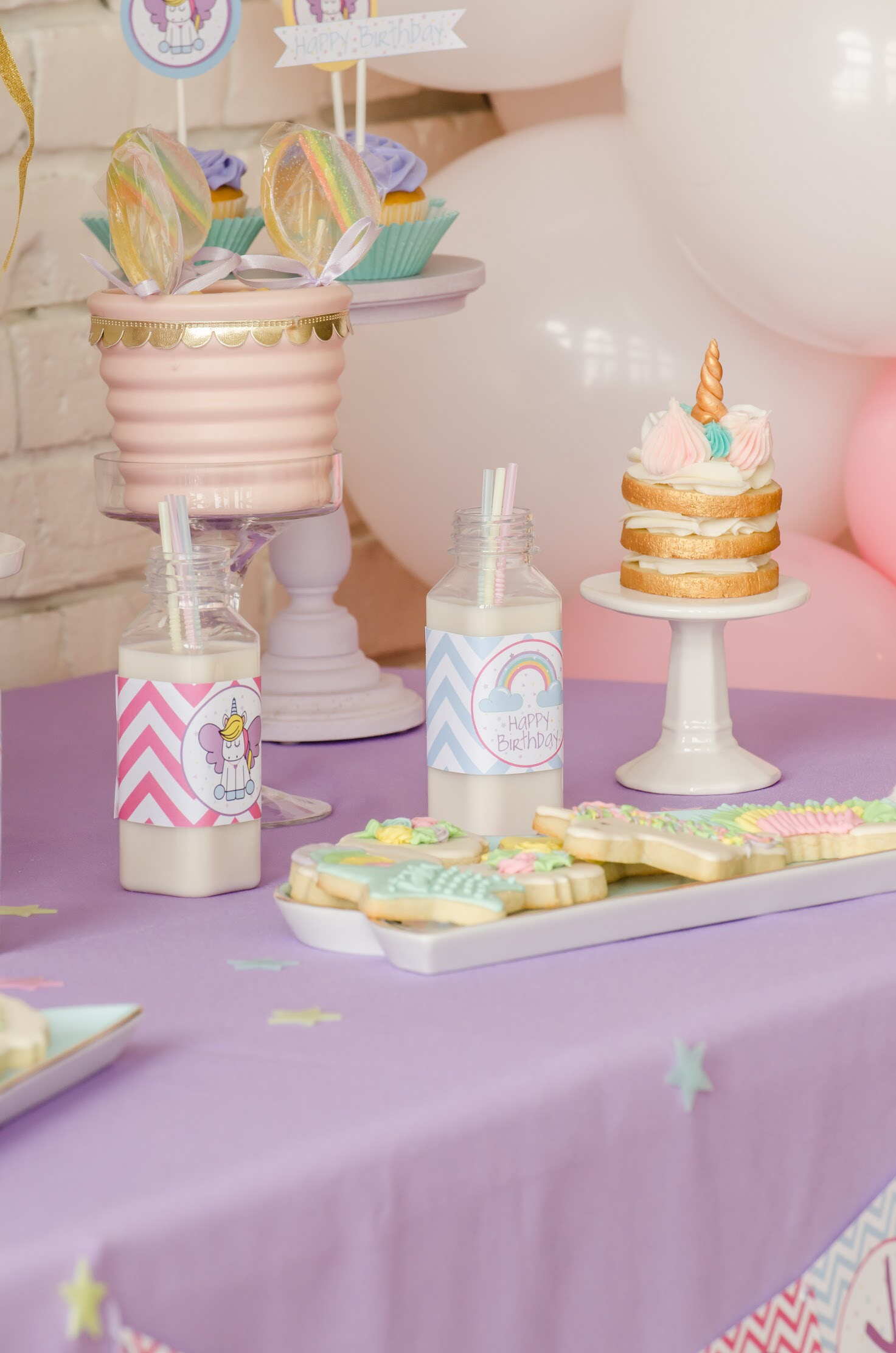 Free Printable bottle wrappers. Come see all the Unicorn Birthday Party Ideas at Mint Event Design www.minteventdesign.com #unicornparty #birthdayparty #birthdaypartyideas #pastelrainbow #printables