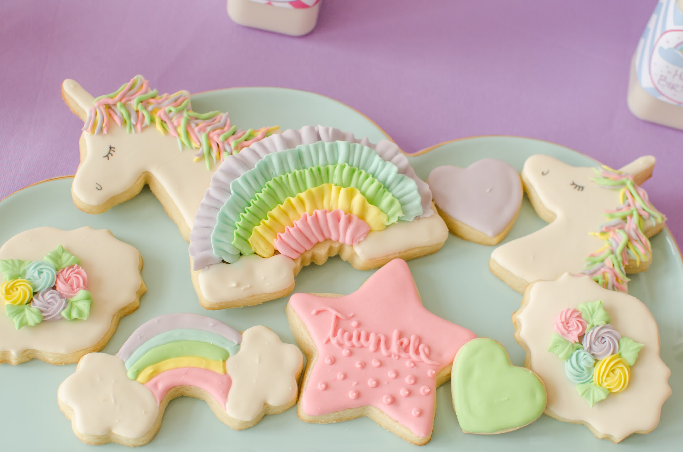 How sweet are these unicorn cookies? The whole party by Mint Event Design is amazing. See more at www.minteventdesign.com #unicornparty #sugarcookies #birthdayparty #birthdaypartyideas #pastelrainbow