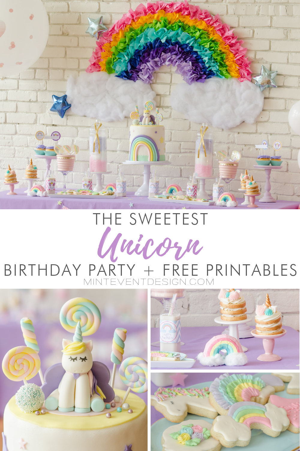 Come see the sweetest unicorn birthday party ideas and free unicorn party printables for you to download. Click for all the pastel rainbow party details from Mint Event Design including how to make paper mache rainbows. Printables feature a unicorn illustration from the birthday girl herself. www.minteventdesign.com #unicornparty #unicorndecor #unicorndecorations #pastelrainbow #birthdayparty #birthdaypartyideas
