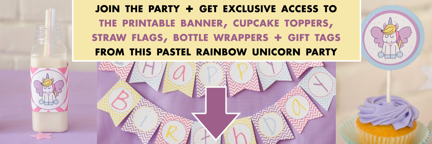 pastel rainbow unicorn party printables