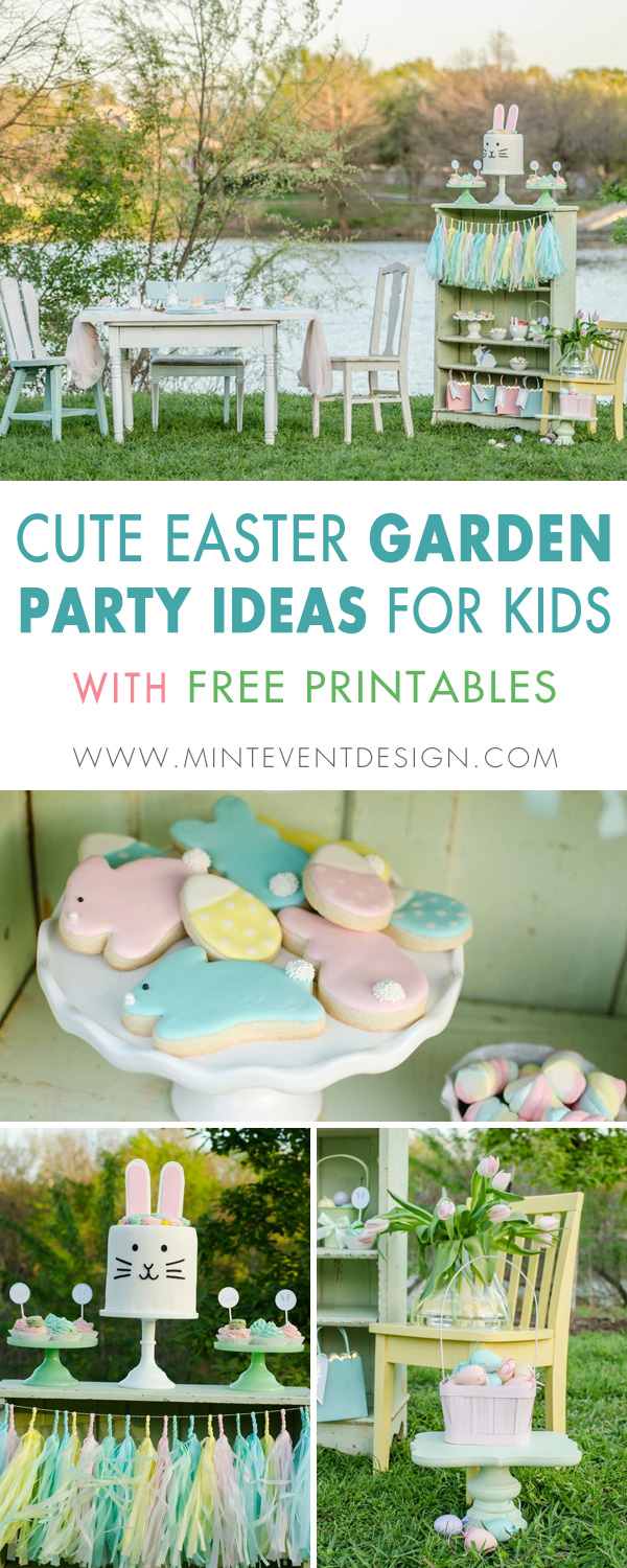 The cutest Easter garden party ideas for kids are here. Including a fun tablescape for kids and there's even free Easter Party Printables. Styling by Mint Event Design www.minteventdesign.com #easterparty #gardenparty #kidspartyideas #easterprintables