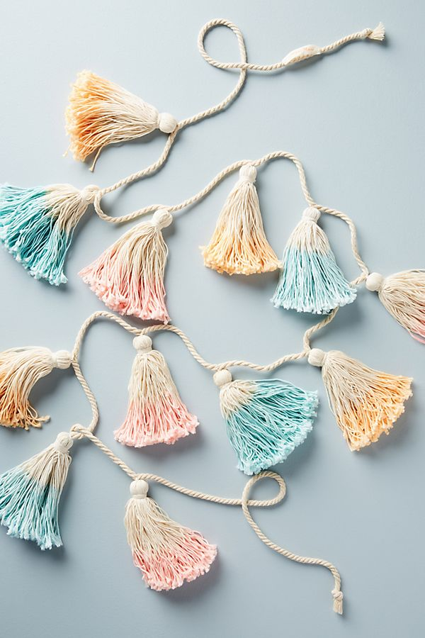 Pretty yarn tassel garland from Anthropologie that's perfect for Easter and spring parties