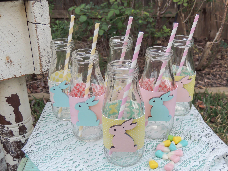 Vintage milk bottles wrapped up for Easter!