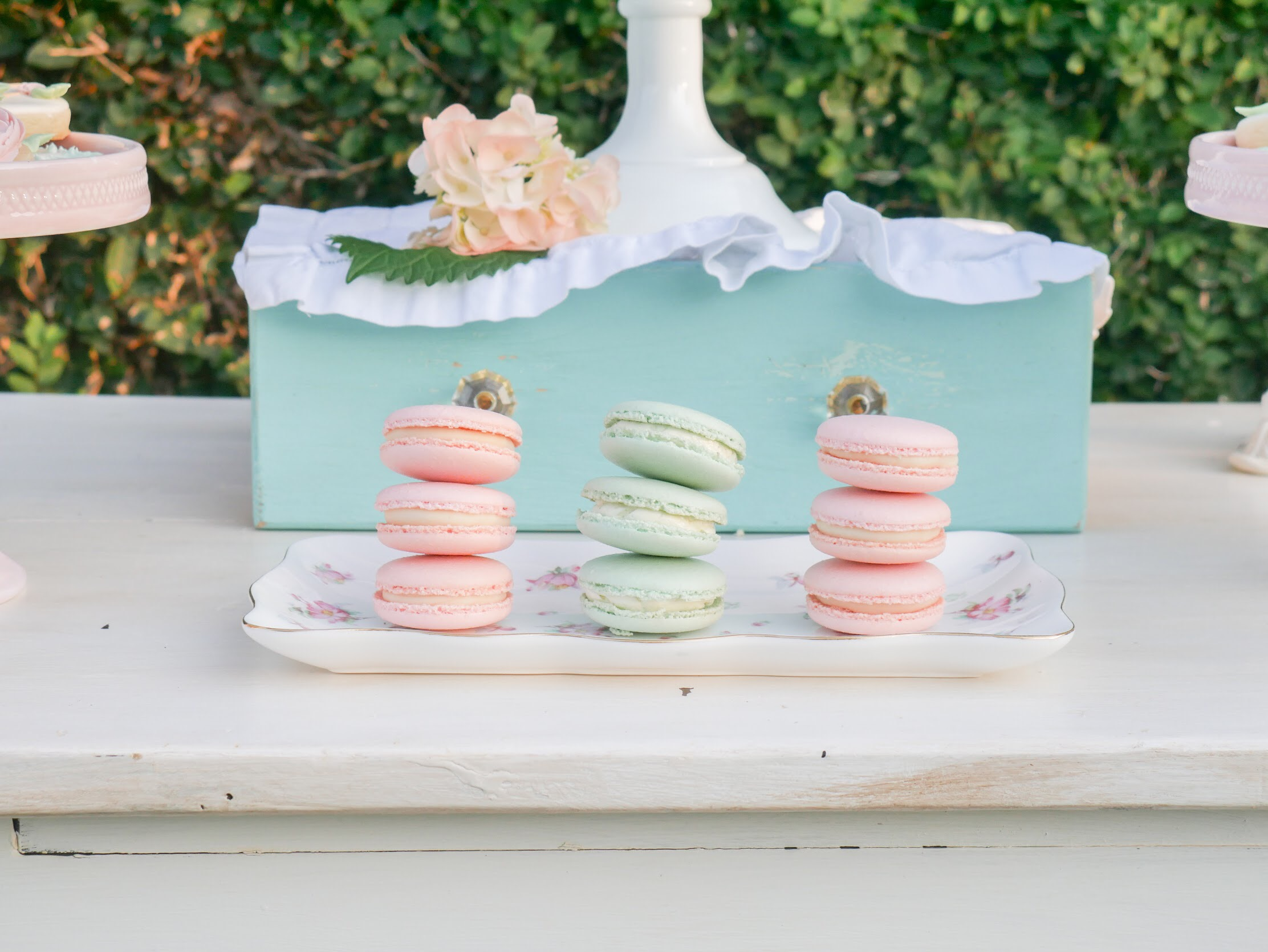 Stacked macarons are a fun dessert table presentation. As seen on Mint Event Design www.minteventdesign.com