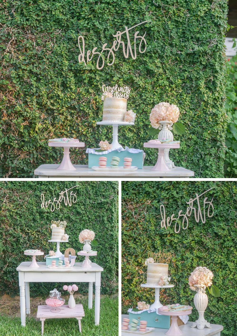 Setting up your party outdoors can be super easy. Use greenery as your backdrop and simply add a cute sign with script letters and you have the best spot for the dessert table. See how to finish setting up your dessert party outdoors on Mint Event Design www.minteventdesign.com #dessertparty #partytips #partyplanning #partyideas #diyparty #desserttable #outdoorparty