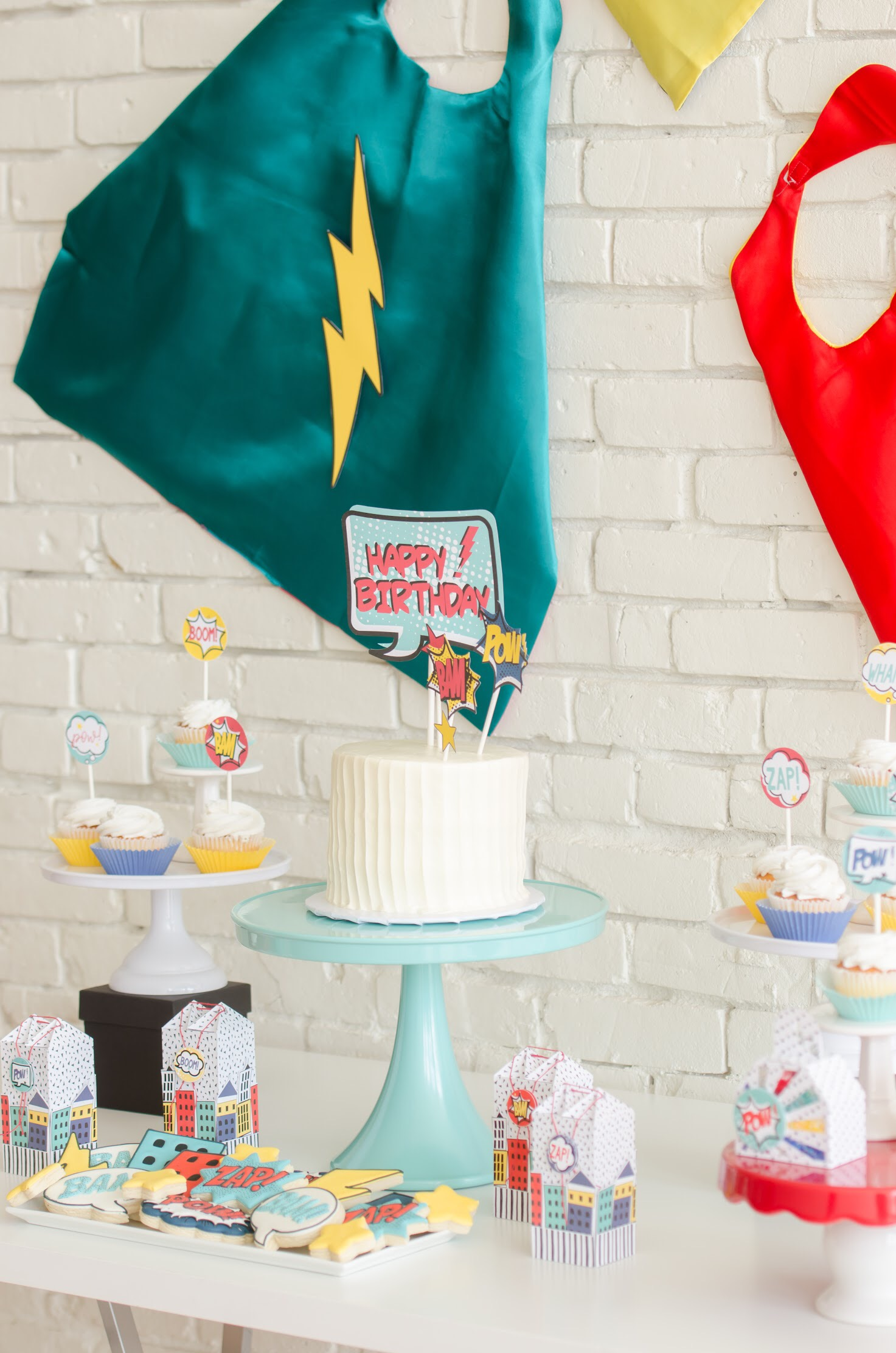 Cute comic book superhero party ideas from Mint Event Design