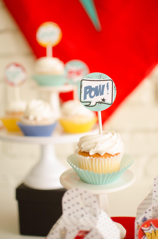 Superhero cupcake ideas from Mint Event Design