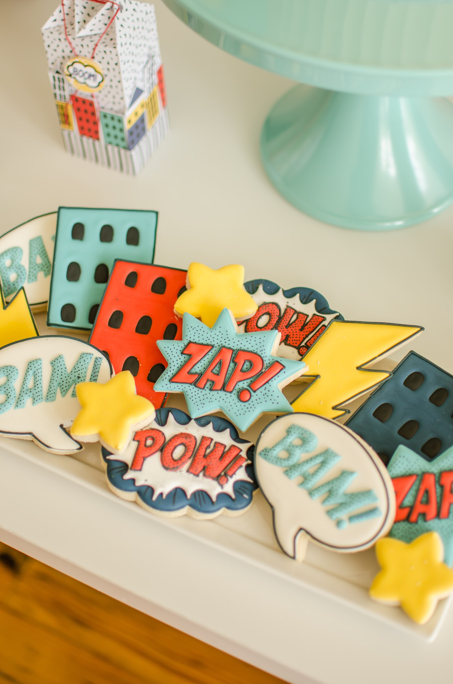 Cookies at a superhero birthday party