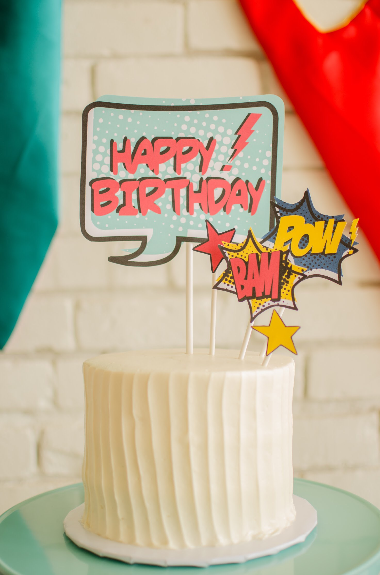 Superhero Cake Topper-free printable from Mint Event Design