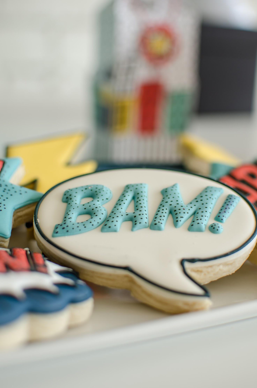 BAM! Cookies with a superhero theme
