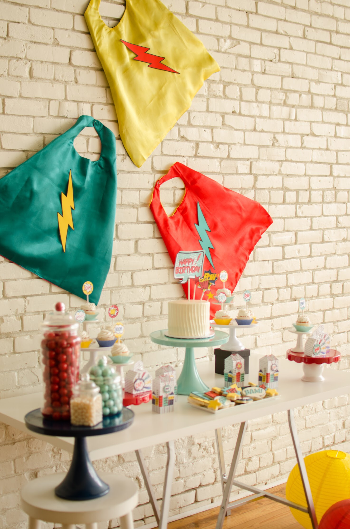 Red, yellow, and blue superhero party ideas from Mint Event Design