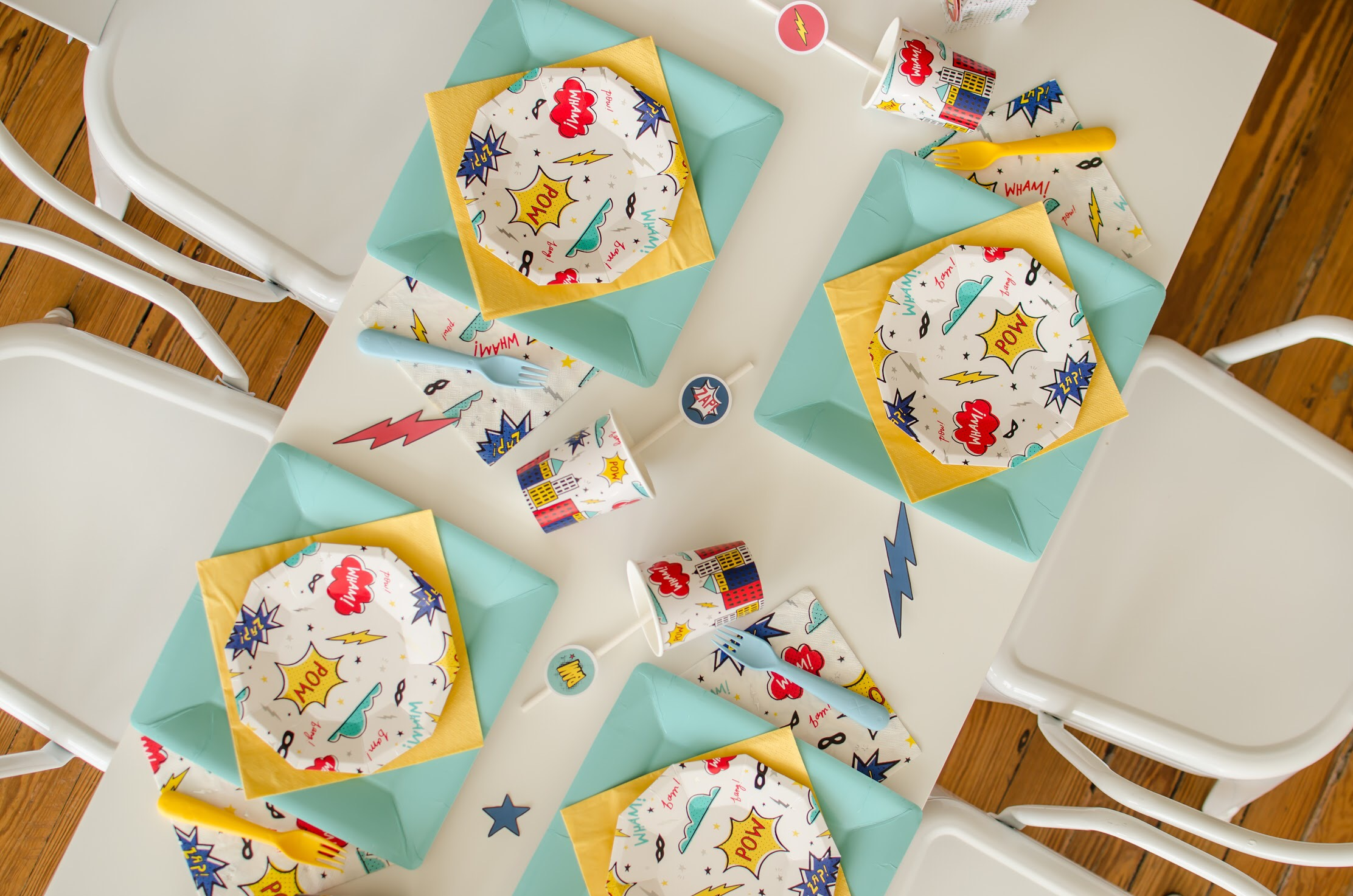 Comic book printed plates and other superhero party ideas