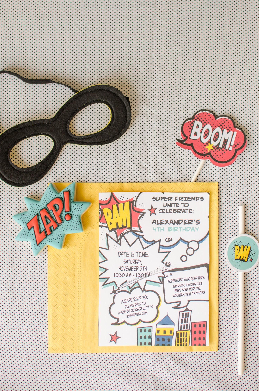 Free printable superhero party invitations