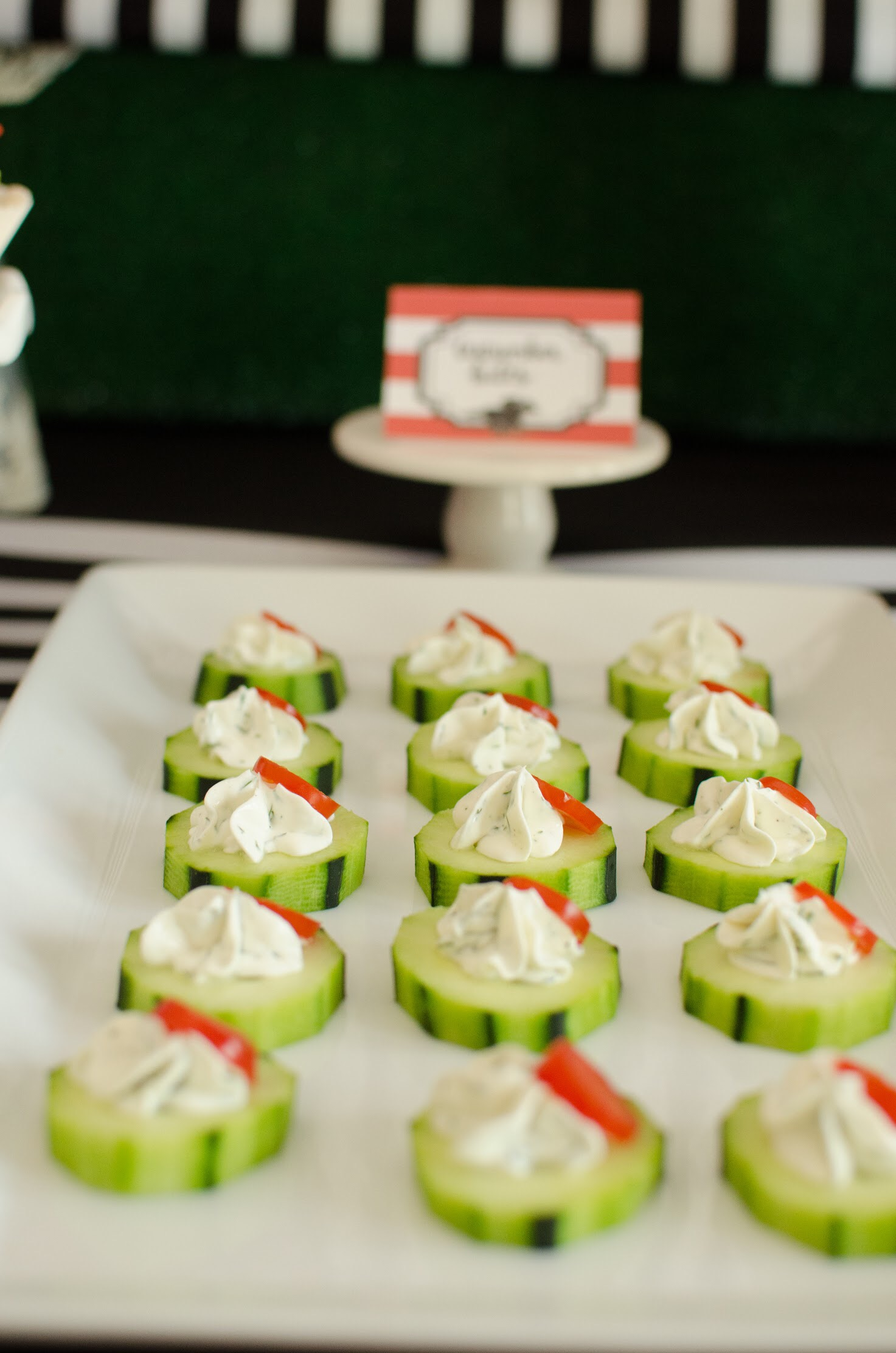 Cucumber Bites are a great appetizer idea for a Kentucky Derby party. Styling by party planner Mint Event Design in Austin Texas www.minteventdesign.com