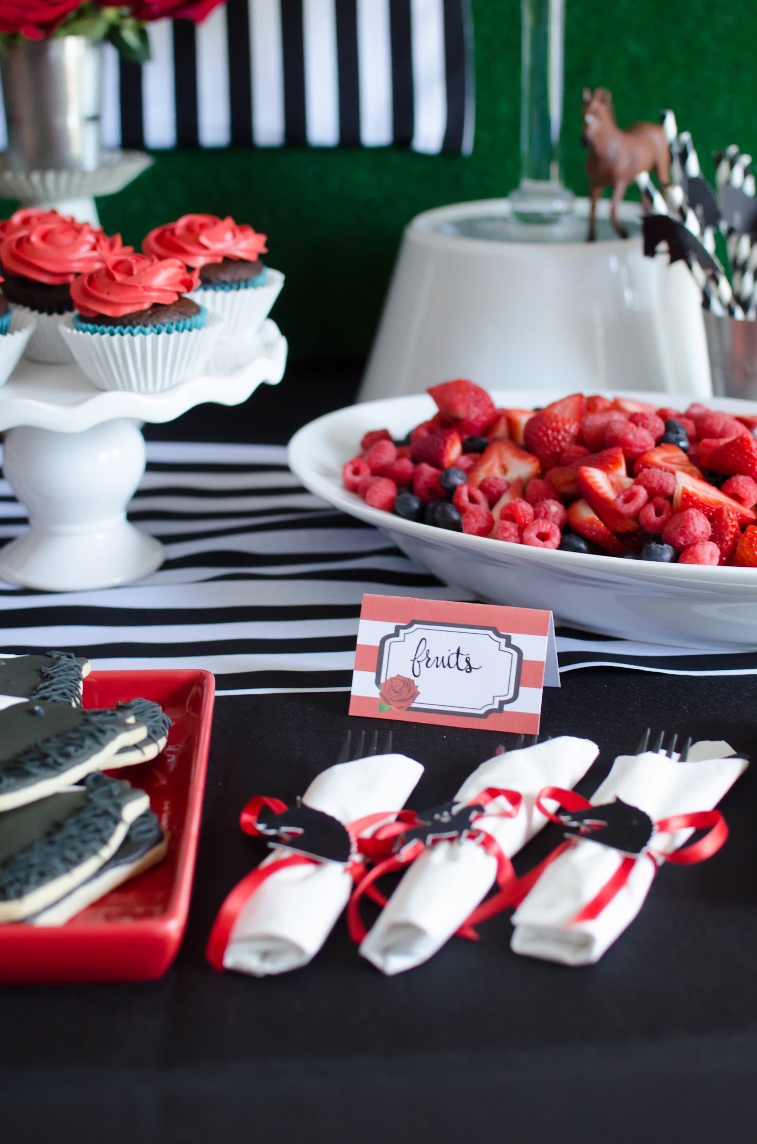 Cute food labels for a Kentucky Derby party. Styling by Mint Event Design www.minteventdesign.com