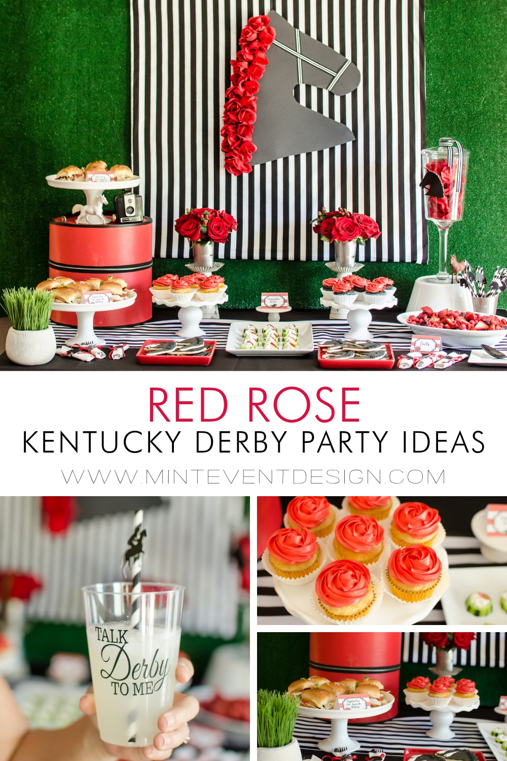 "Red Rose Kentucky Derby Party Ideas including layouts for a food table and drink station with ""Talk Derby to Me"" Decals for your glasses. Styling by Mint Event Design in Austin Texas www.minteventdesign.com #kentuckyderbyparty #kentuckyderby #partyideas #derbyday #runfortheroses #tabledecor"