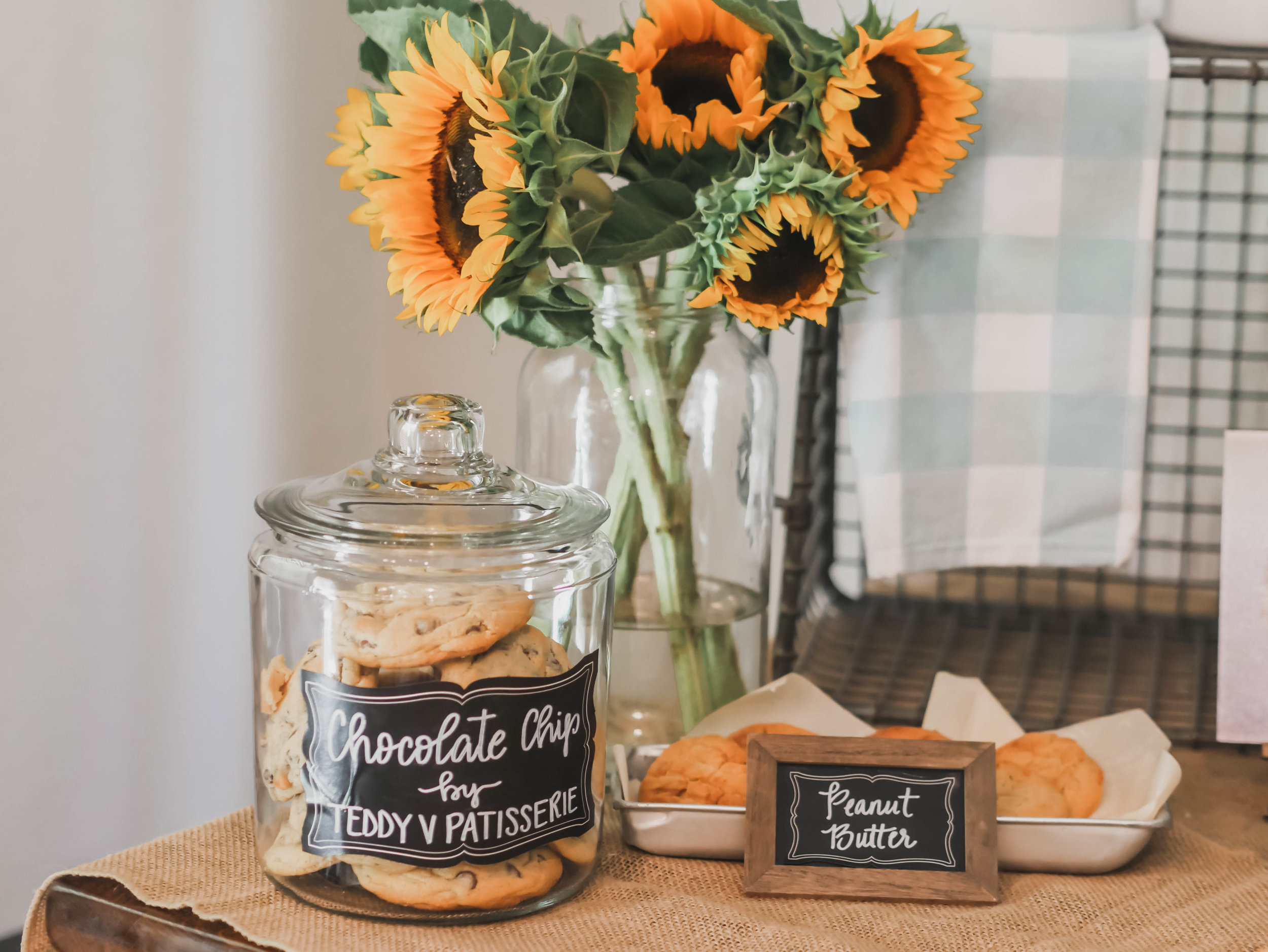 Serve cookies in apothecary jars for a One Smart Cookie Graduation Party - as seen on Mint Event Design www.minteventdesign.com