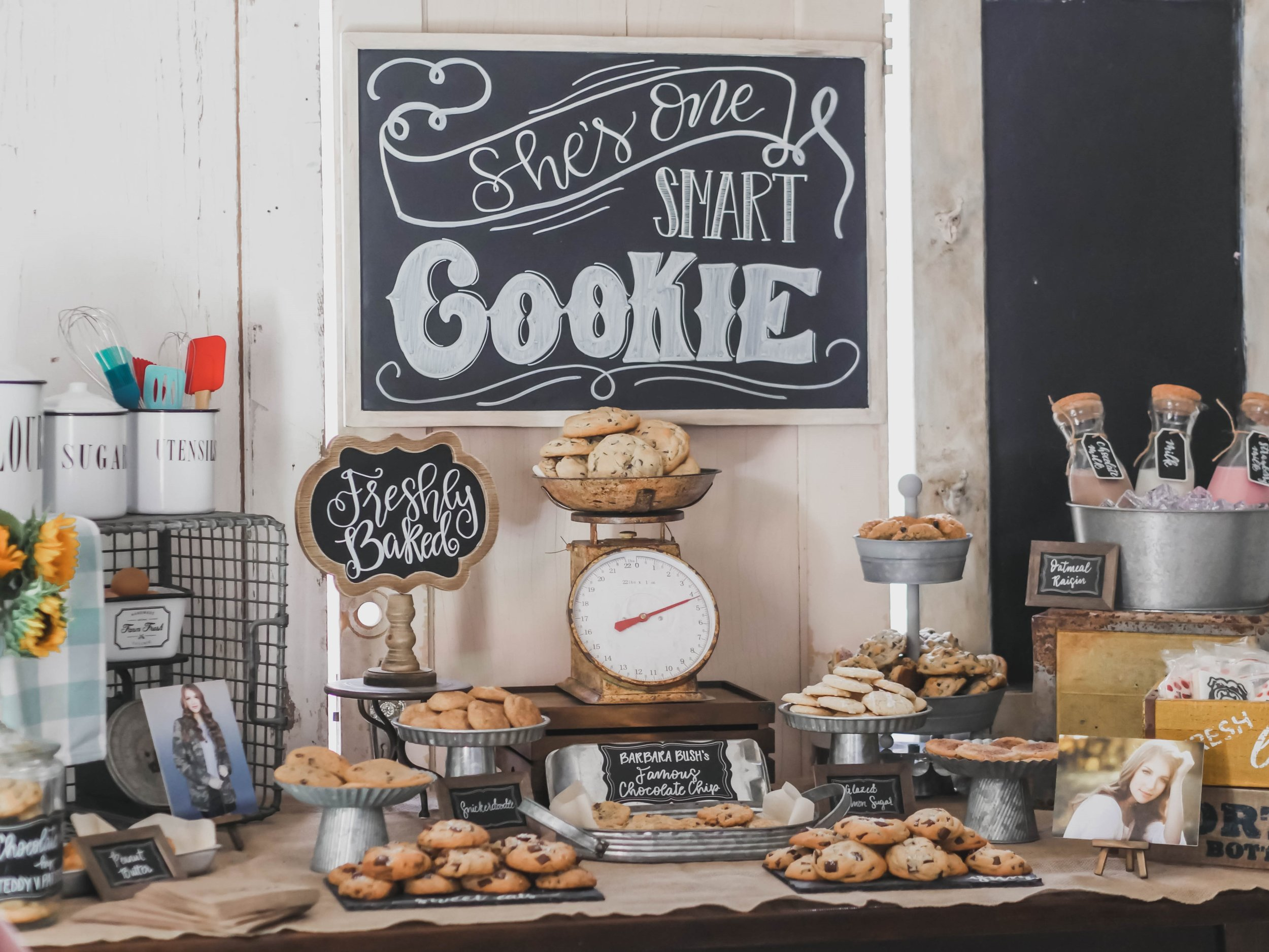 Vintage style Cookie Bar Graduation Party Ideas from Mint Event Design - party planner in Austin Texas www.minteventdesign.com #graduationparty #graduationpartyideas #partyideas #rusticpartyideas #partyinspiration #dessertbar #desserttable #chalkboardsigns