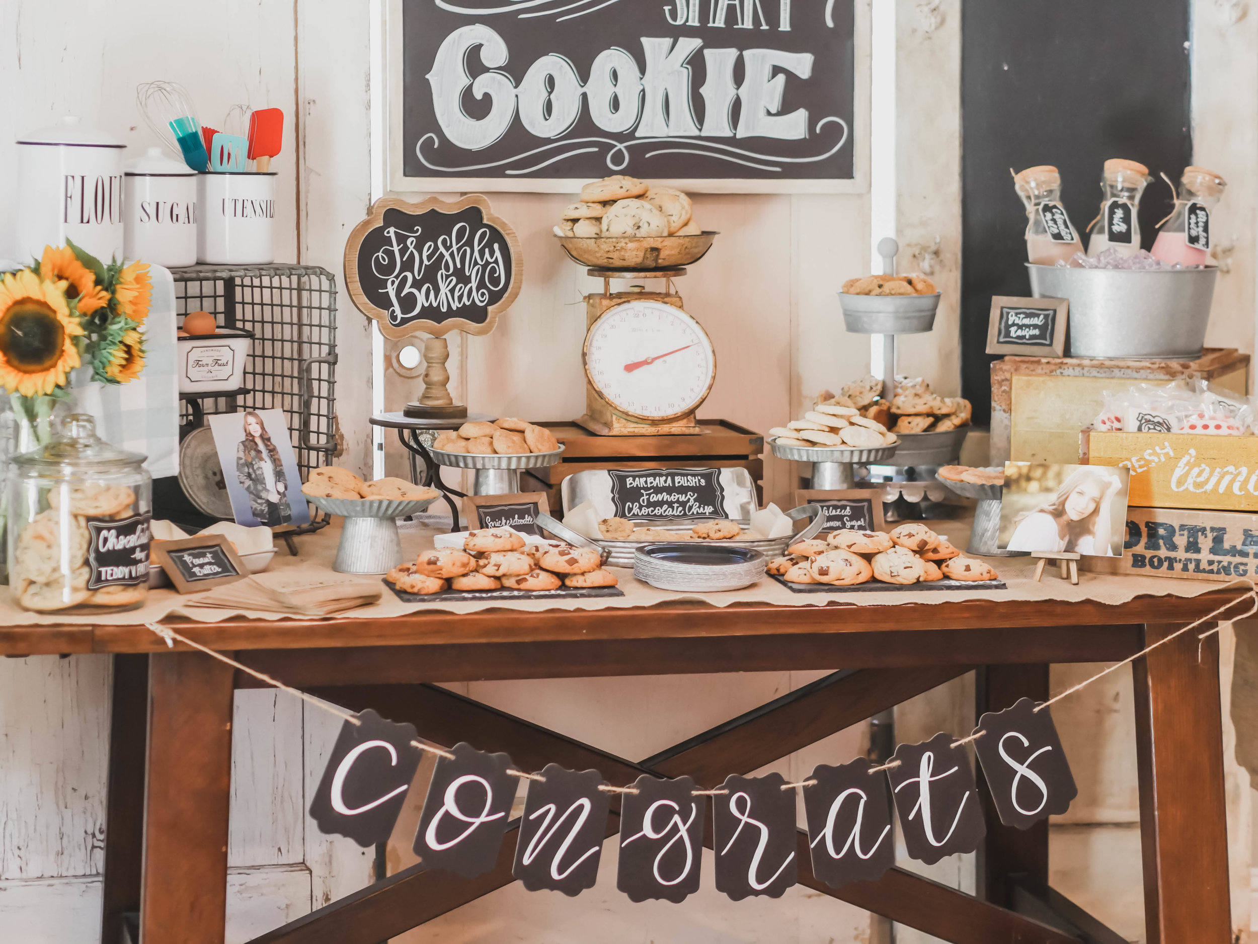 Check out this adorable and over-the-top graduation cookie bar for One Smart Cookies. Come see all the party details from this graduation party on Mint Event Design www.minteventdesign.com #graduationparty #graduationpartyideas #partyideas #rusticpartyideas #partyinspiration #dessertbar #desserttable #cookies