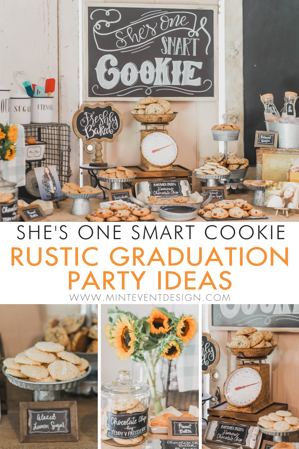 How to plan a One Smart Cookie Graduation Party with a vintage style cookie bar and lots of rustic touches throughout with hand lettered chalkboard signs. Come see the complete graduation party guide on Mint Event Design, a party planner in Austin Texas www.minteventdesign.com #graduationparty #graduationpartyideas #partyideas #rusticpartyideas #partyinspiration #dessertbar #desserttable #chalkboardsigns