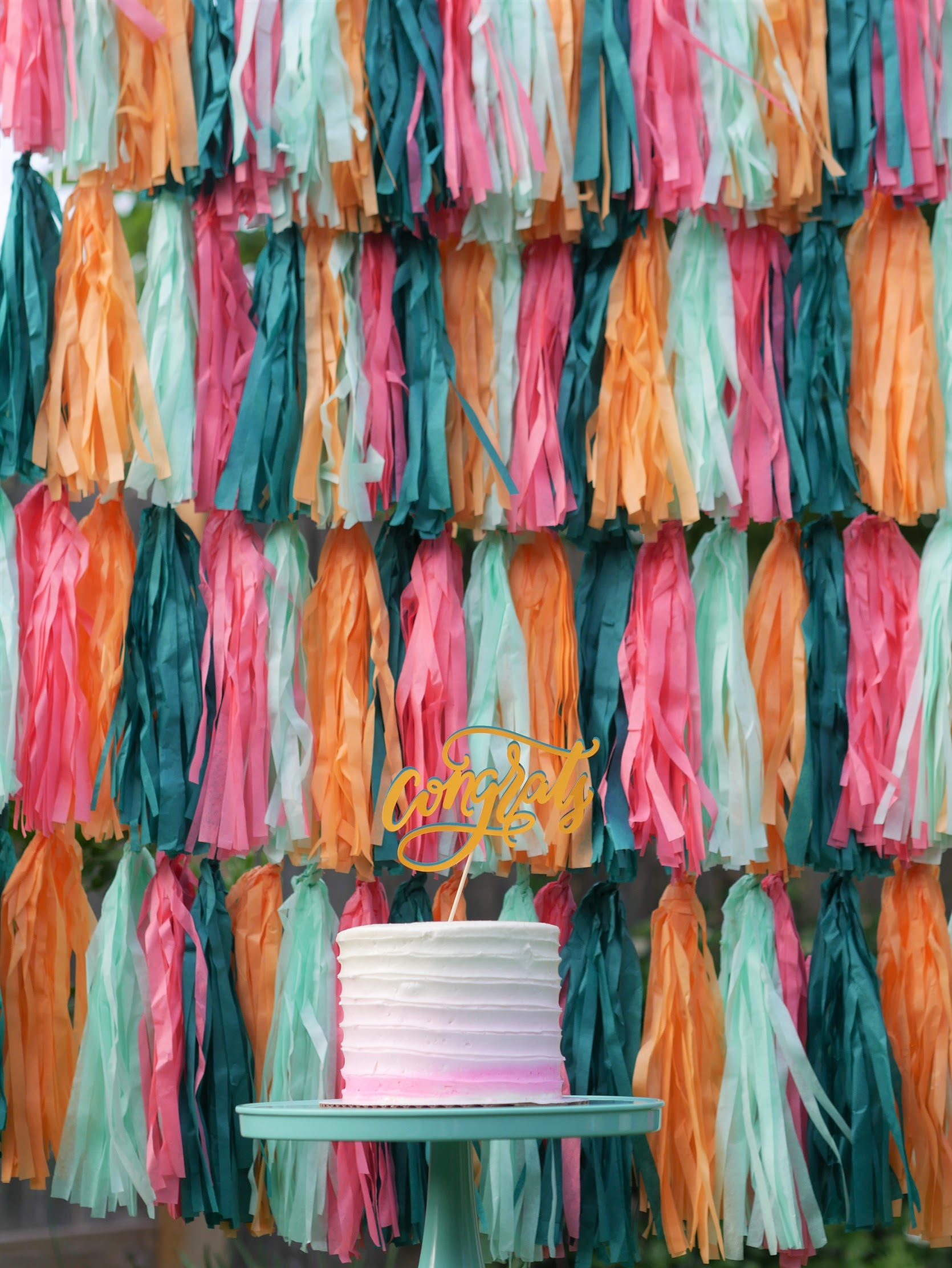 Adorable ombre graduation cake idea and fabulous tassel backdrop. See more from this Grad Party on Mint Event Design www.minteventdesign.com