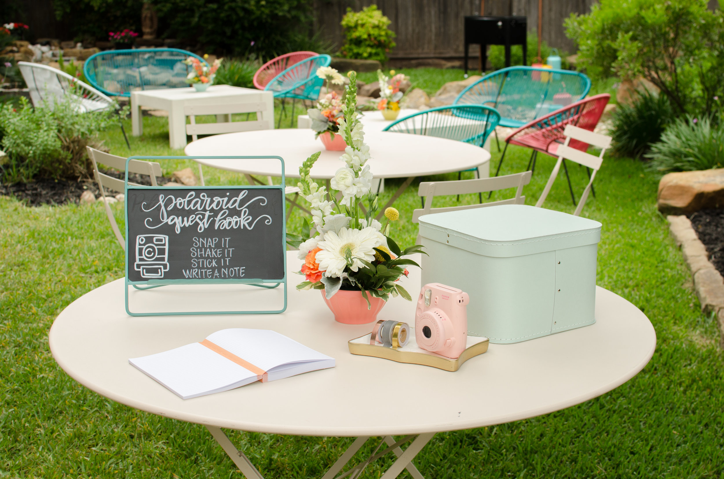 Be creative with a Polaroid guest book table, perfect for weddings or any party. Snap it, Share it, Stick it, Write a Note. See more from this Grad Party on Mint Event Design www.minteventdesign.com #graduationparty #graduationpartyideas #graduation #gradparty #gradpartyideas