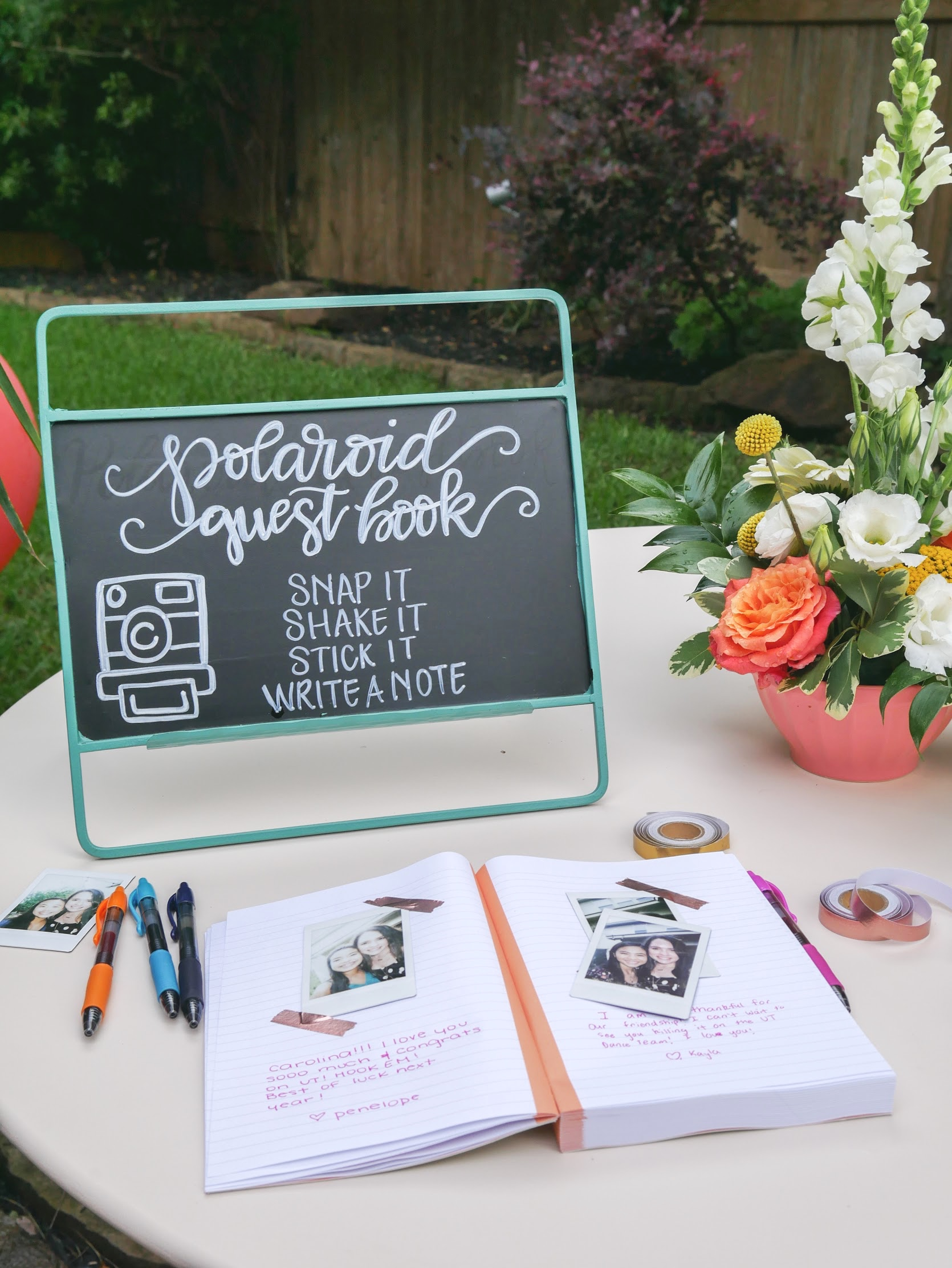 Cute graduation party idea includes creating a polaroid guest book table. See more from this Grad Party on Mint Event Design www.minteventdesign.com #graduationparty #graduationpartyideas #graduation #gradparty #gradpartyideas