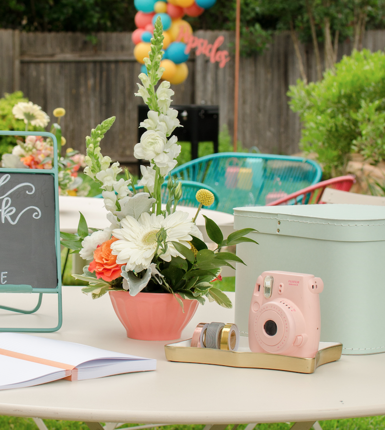 Cute and colorful graduation party guest book table. See more from this Grad Party on Mint Event Design www.minteventdesign.com