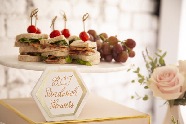 BLT Sandwich Skewers are a hit at any party including this Sweet Baby Shower from Mint Event Design www.minteventdesign.com