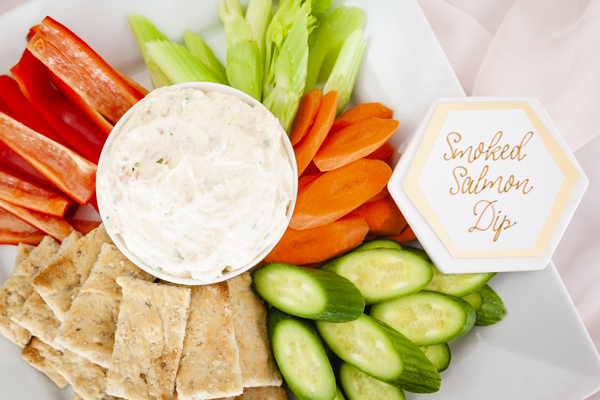 Charcuterie ideas for a baby sip and see include this yummy smoke salmon dip. As styled by Mint Event Design for Bento Picnic www.minteventdesign.com