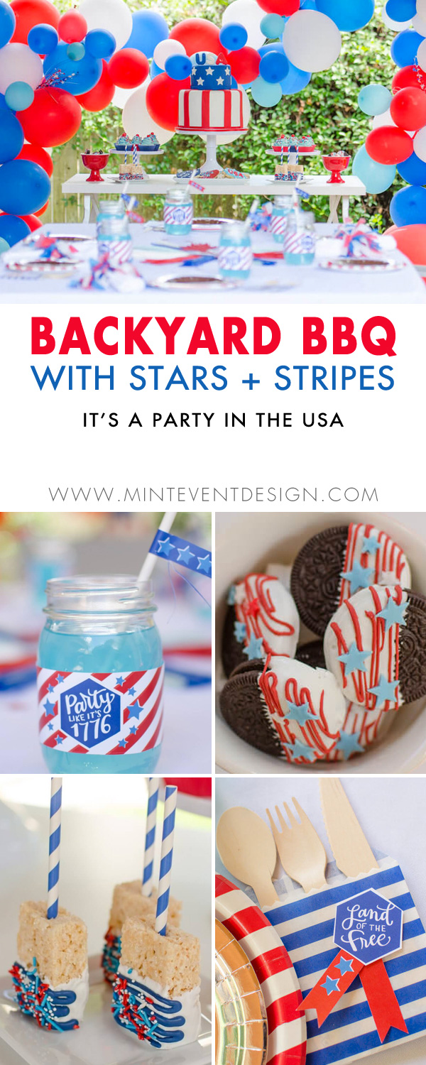 It's Time to Party in the USA with a Backyard BBQ. Let's party like it 1776 this 4th of July with lots of stars and stripes for party decorations, yummy sweets and free printables. See all the red, white and blue party ideas from Mint Event Design www.minteventdesign.com #fourthofjuly #4thofjuly #desserttable #partyideas #dessertideas #partydecorations #bbq #summerparty