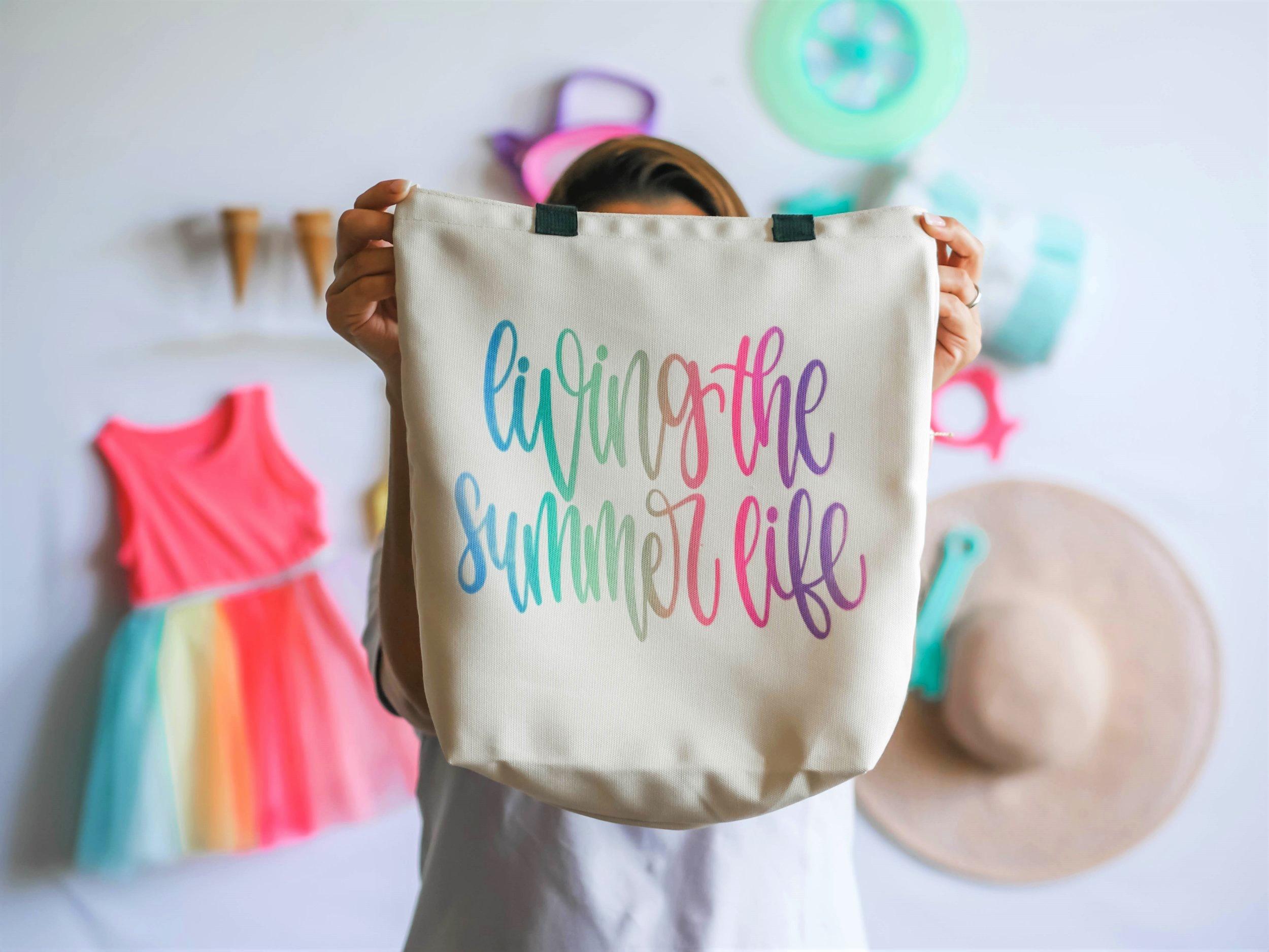 Cricut Infusible Ink DIY, SUmmer DIY, Cricut DIY, Tote bag idea for summer, Infusible Ink, summer craft, girls craft idea