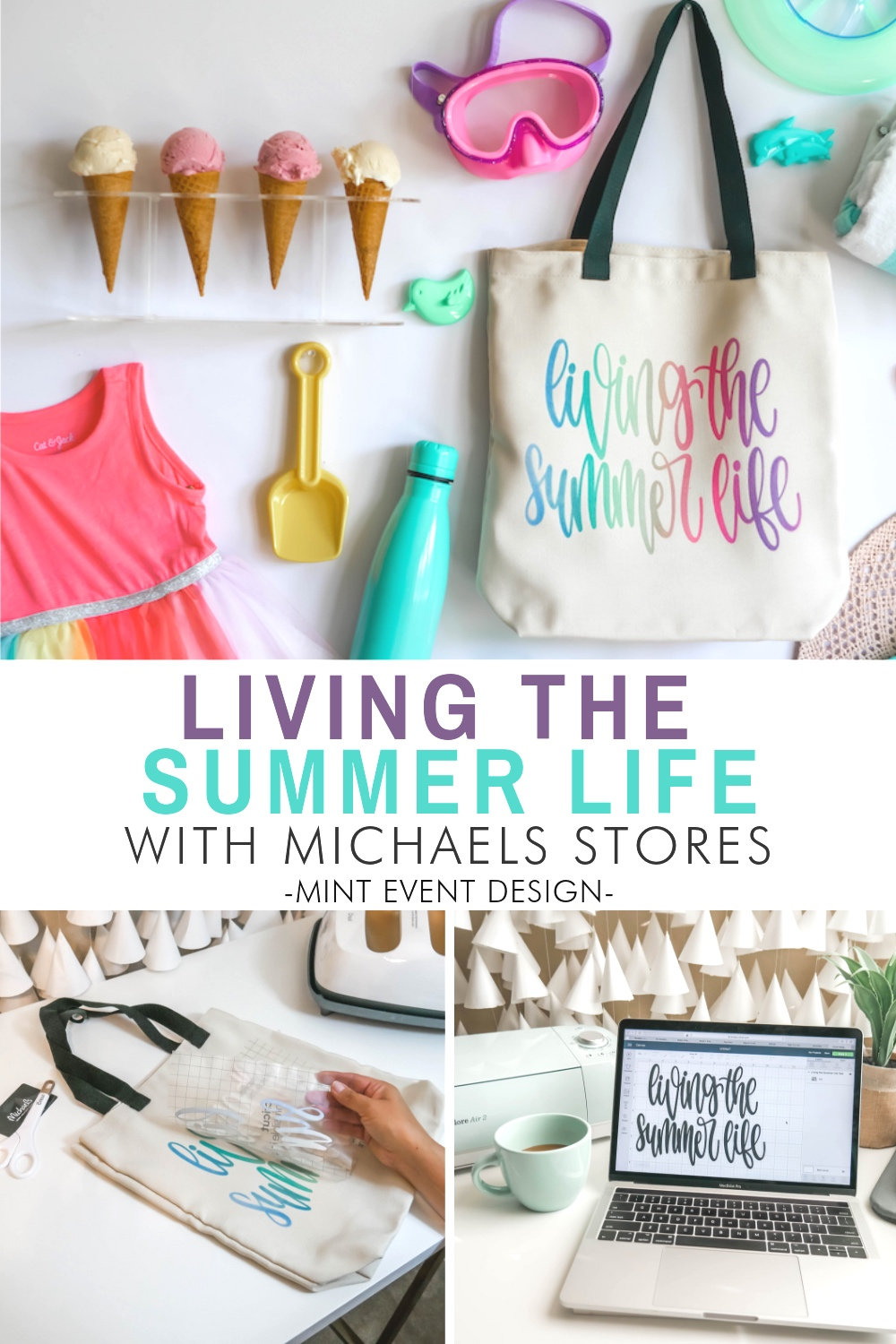 It's all about Living the Summer Life with this easy DIY Tote Bag using the new Cricut Infusible Ink Transfer Sheets. They are available exclusively at Michaels Stores. Come on over to Mint Event Design and I'll show you how to create your own Tote Bag for your summer outings. www.minteventdesign.com #cricut #cricutmade #cricutexplore #diycrafts #summercrafts #totebag #infusibleink